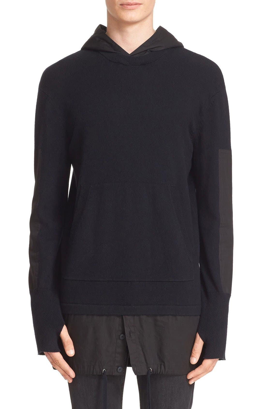 HELMUT LANG Merino Wool & Cotton Hooded Pullover