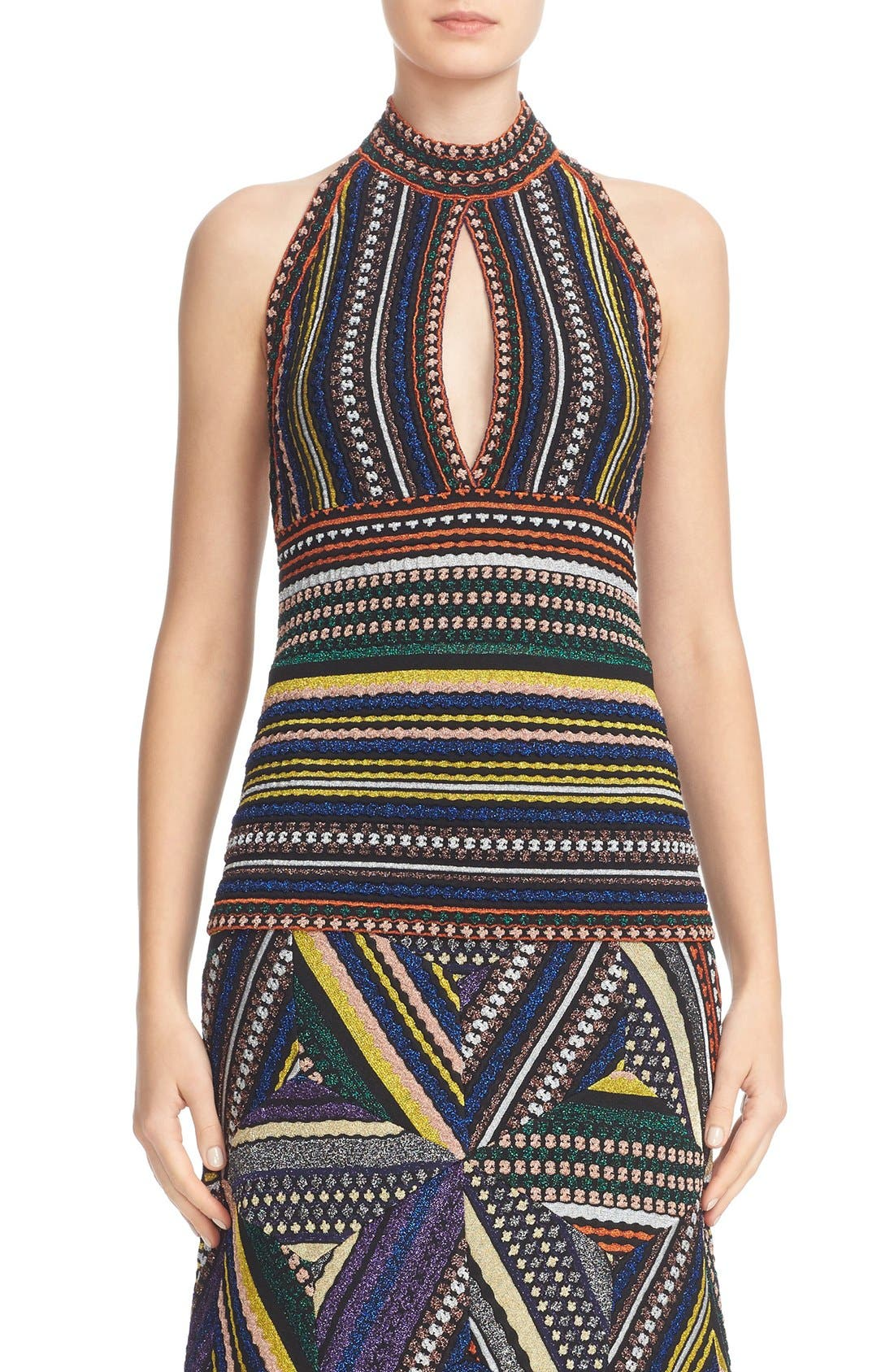 MISSONI Metallic Knit Keyhole Halter Top