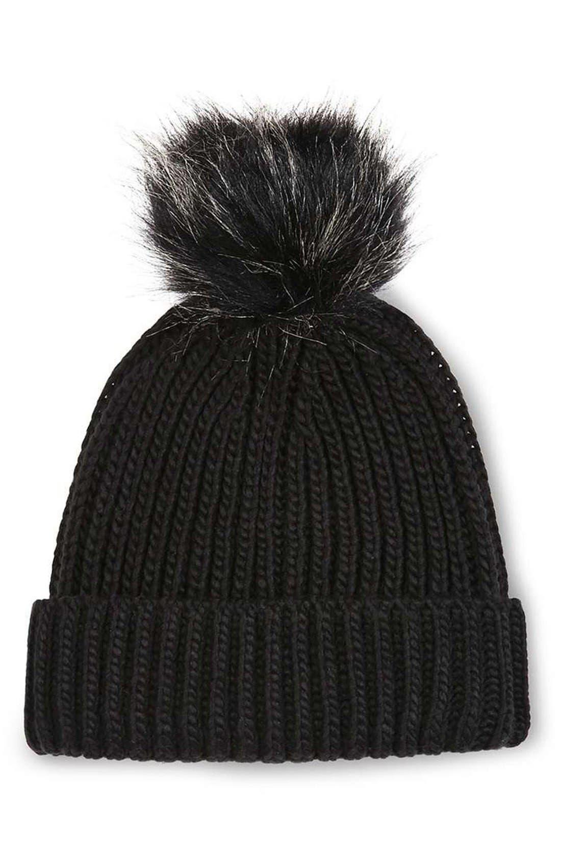 Main Image - Topshop Tipped Faux Fur Pom Beanie