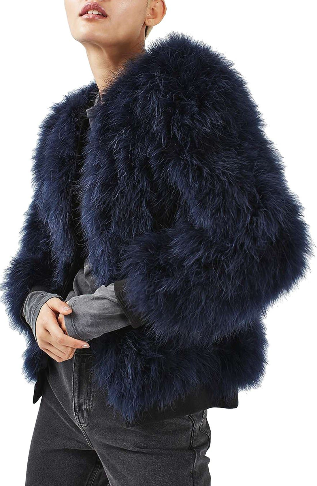 Alternate Image 1 Selected - Topshop Ozzy Marabou Feather Coat