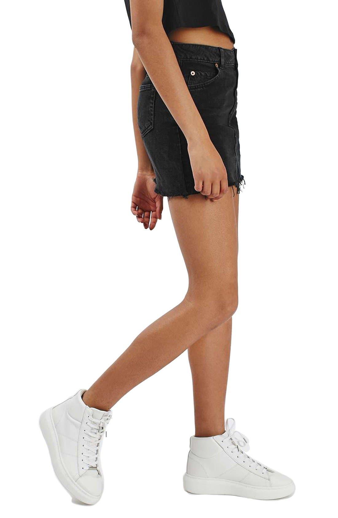Main Image - Topshop Moto Cutoff Denim Miniskirt