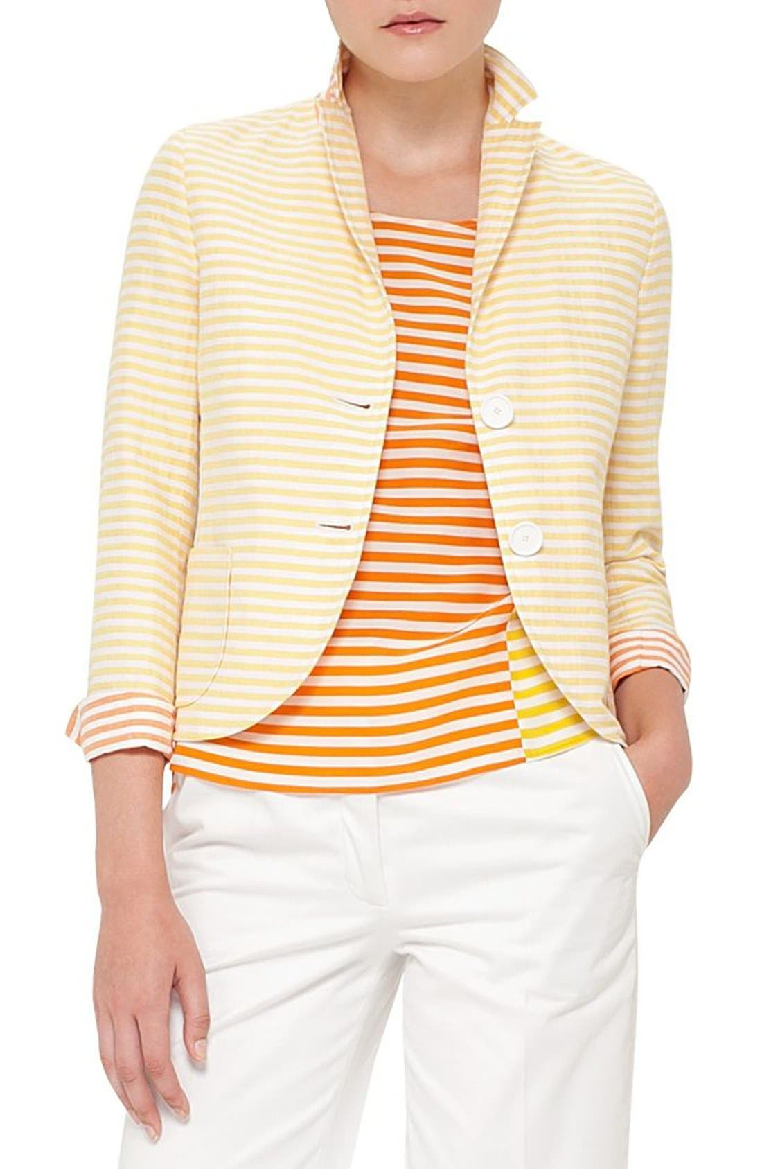 AKRIS PUNTO Stripe Cotton & Linen Jacket