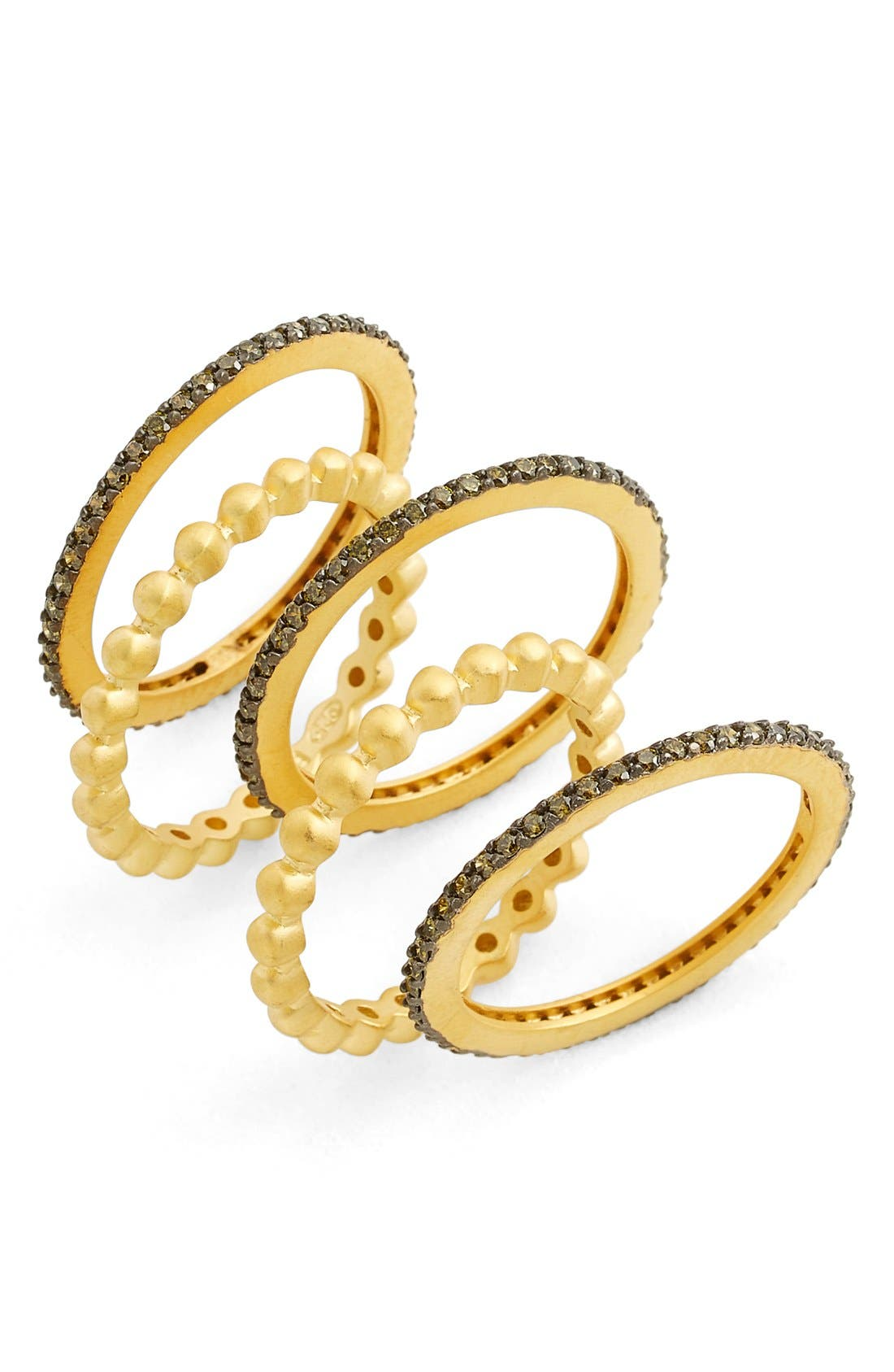 Alternate Image 1 Selected - FREIDA ROTHMAN Contemporary Deco Stacking Rings (Set of 5)