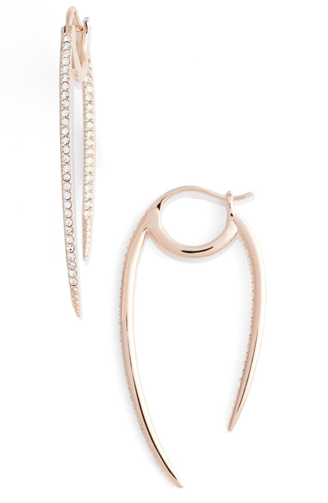 Nadri 'Crescent' Linear Hoop Earrings