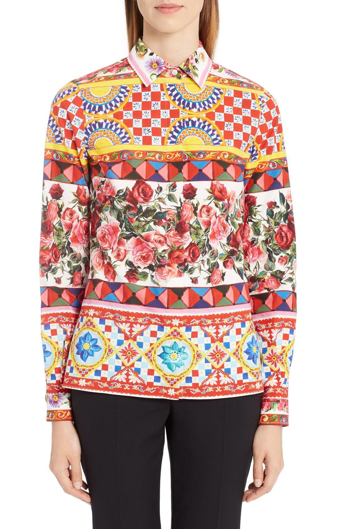 DOLCE&GABBANA Print Poplin Shirt