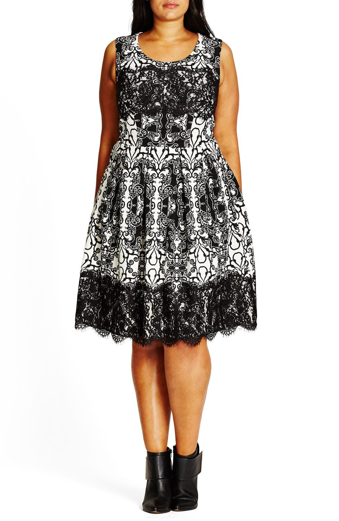 CITY CHIC Royale Lace Fit & Flare Dress