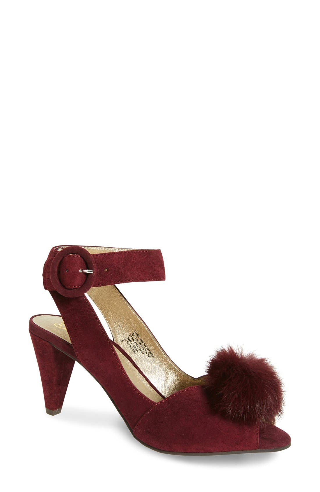 SEYCHELLES Seduce Genuine Rabbit Fur Pompom Sandal