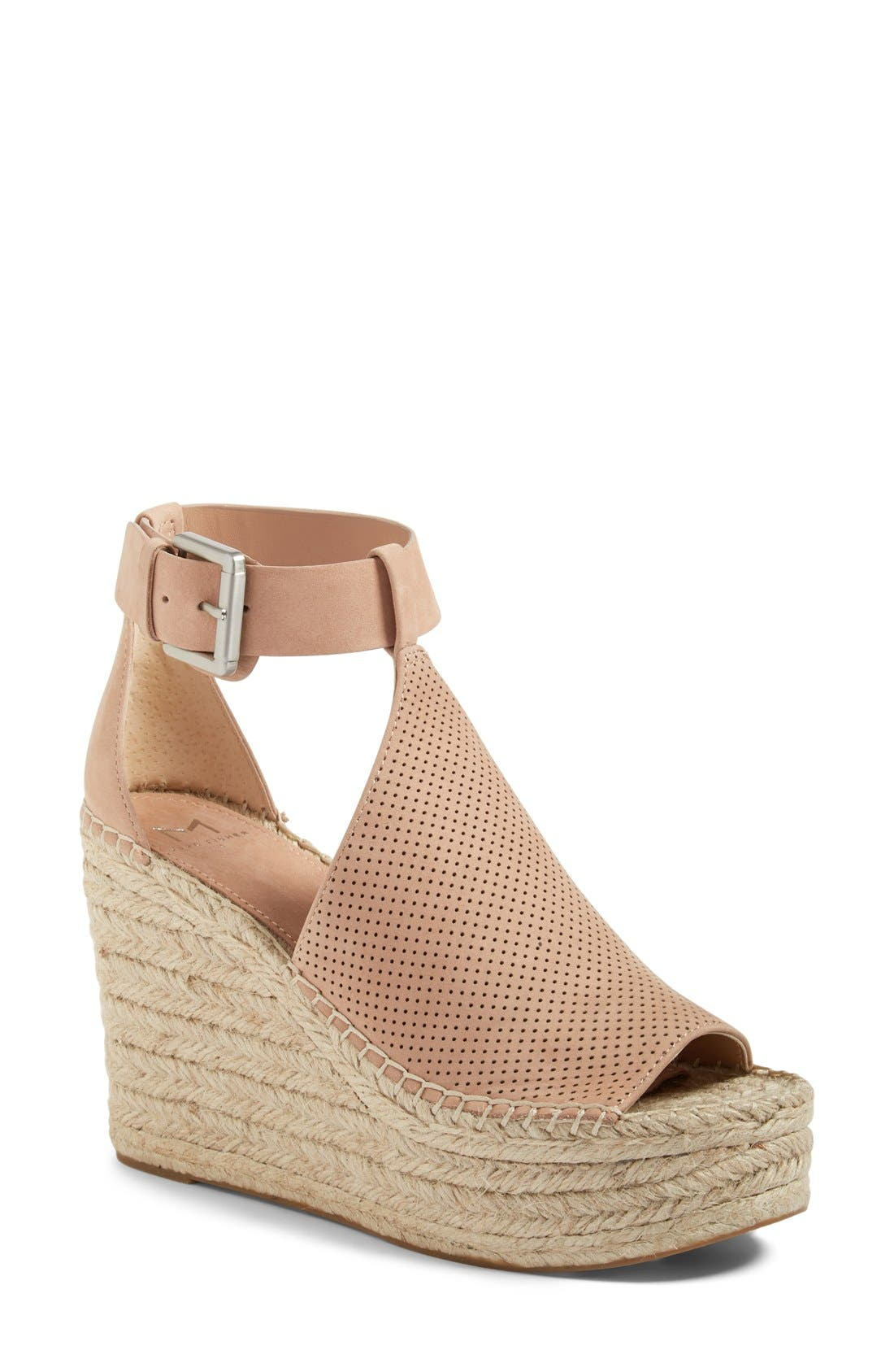 Alternate Image 1 Selected - Marc Fisher LTD Annie Perforated Espadrille Platform Wedge (Women)
