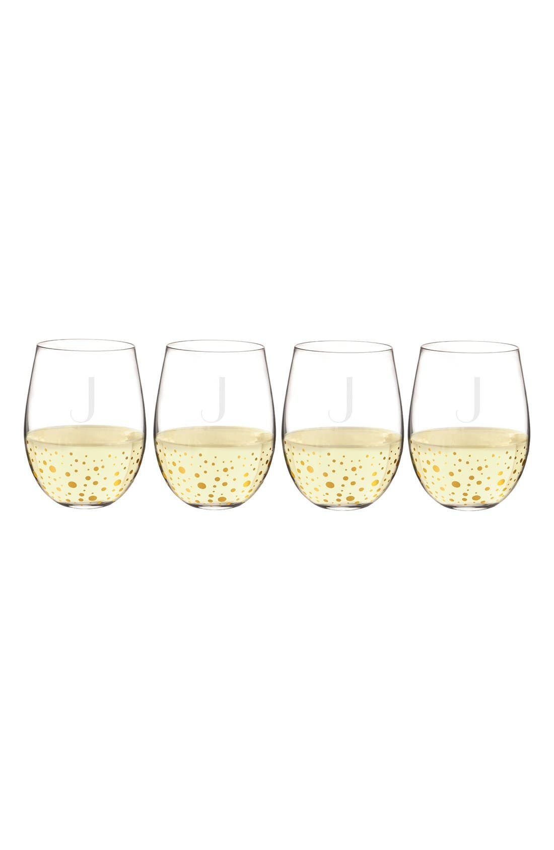 Cathy's Concept Set of 4 Gold Dot Stemless Wine Glasses