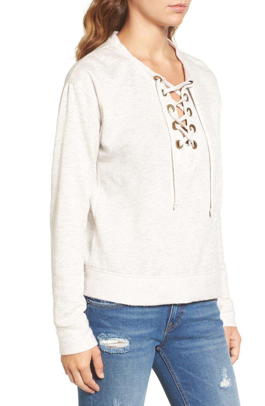 Alternate Image 4  - Socialite Lace-Up Sweatshirt