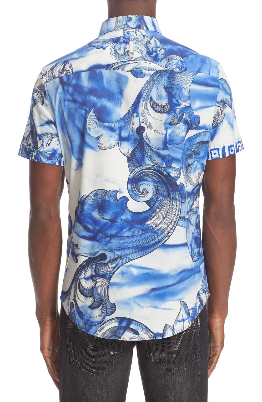 Alternate Image 3  - Versace Collection Trim Fit Tie Dye Short Sleeve Sport Shirt