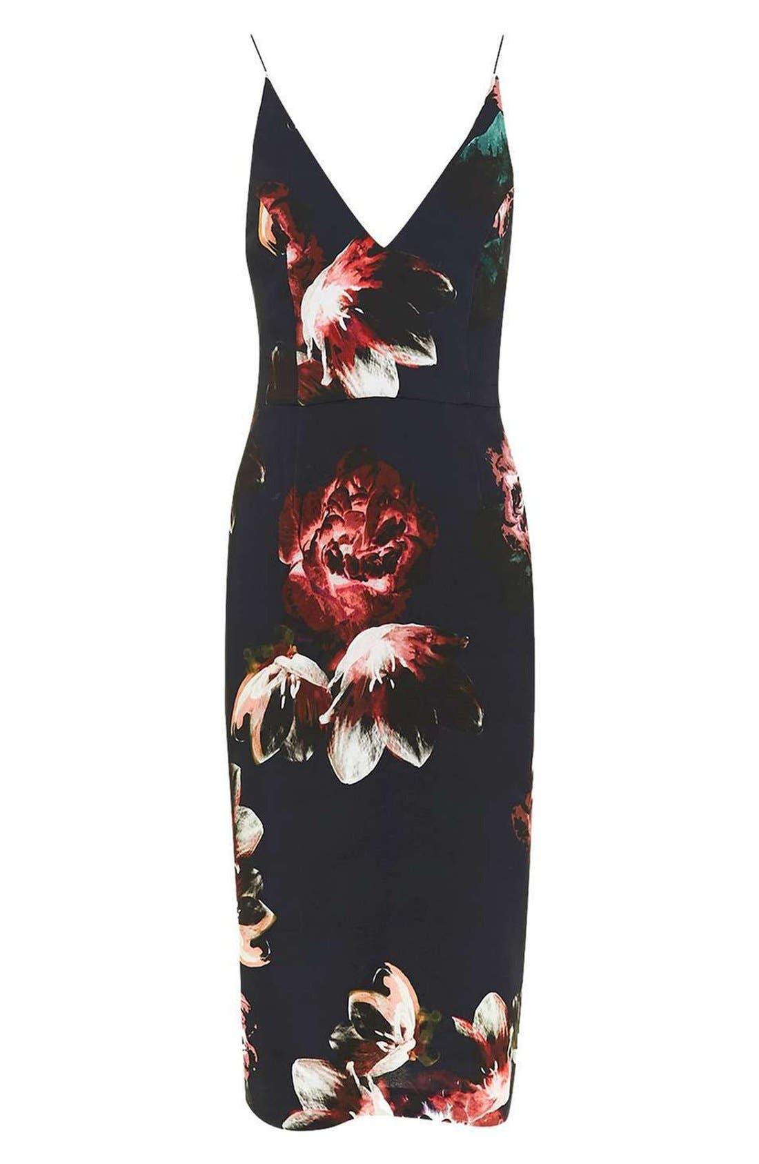 Alternate Image 4  - Topshop Floral Plunge Body-Con Midi Dress