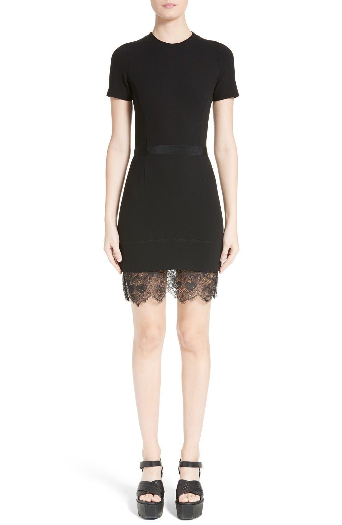 CARVEN Lace Hem Knit Dress