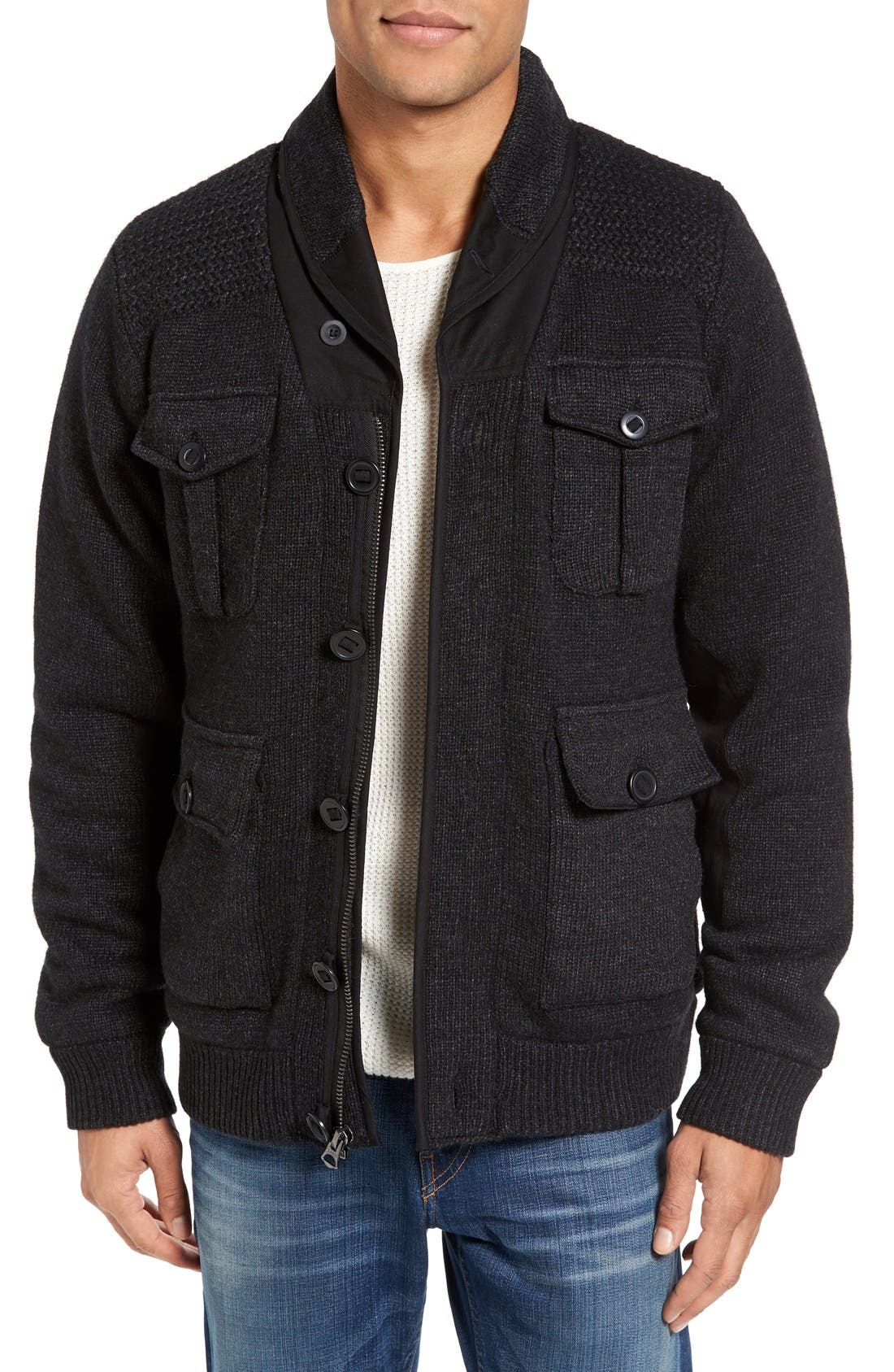 Schott NYC Military Sherpa-Lined Sweater Jacket,