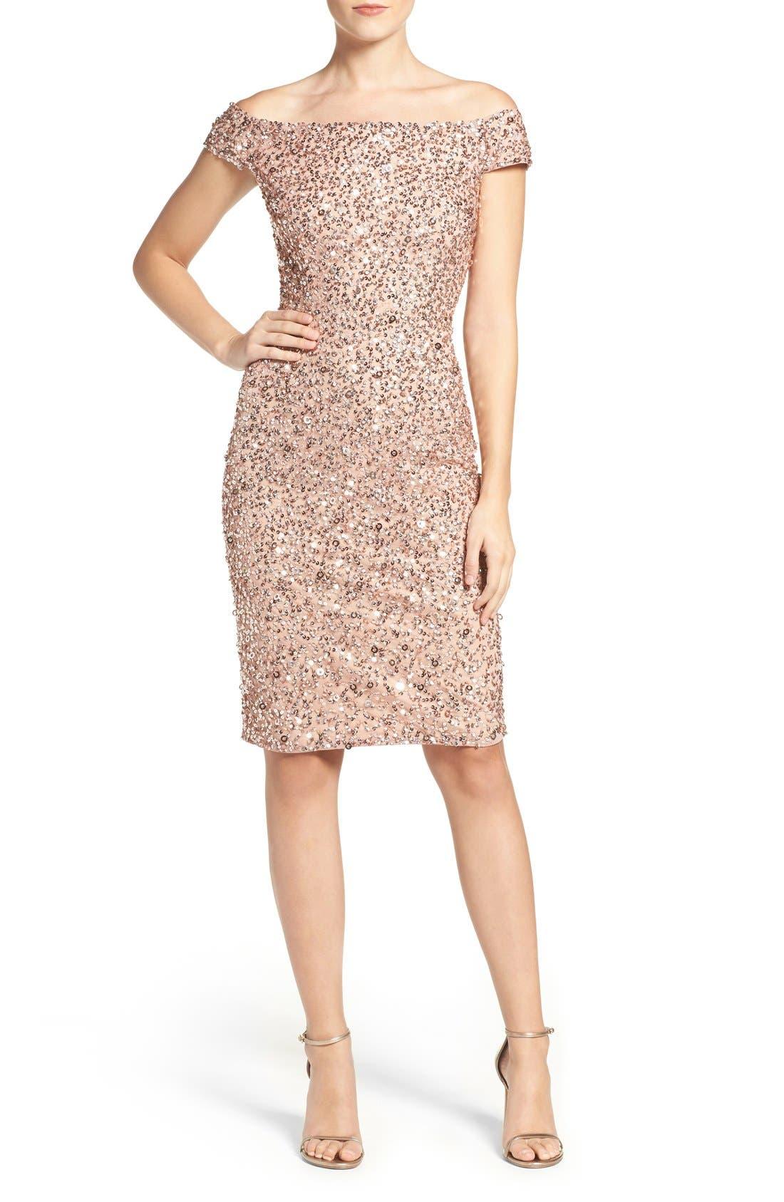 Alternate Image 4  - Adrianna Papell Off the Shoulder Sequin Sheath Dress (Regular & Petite)