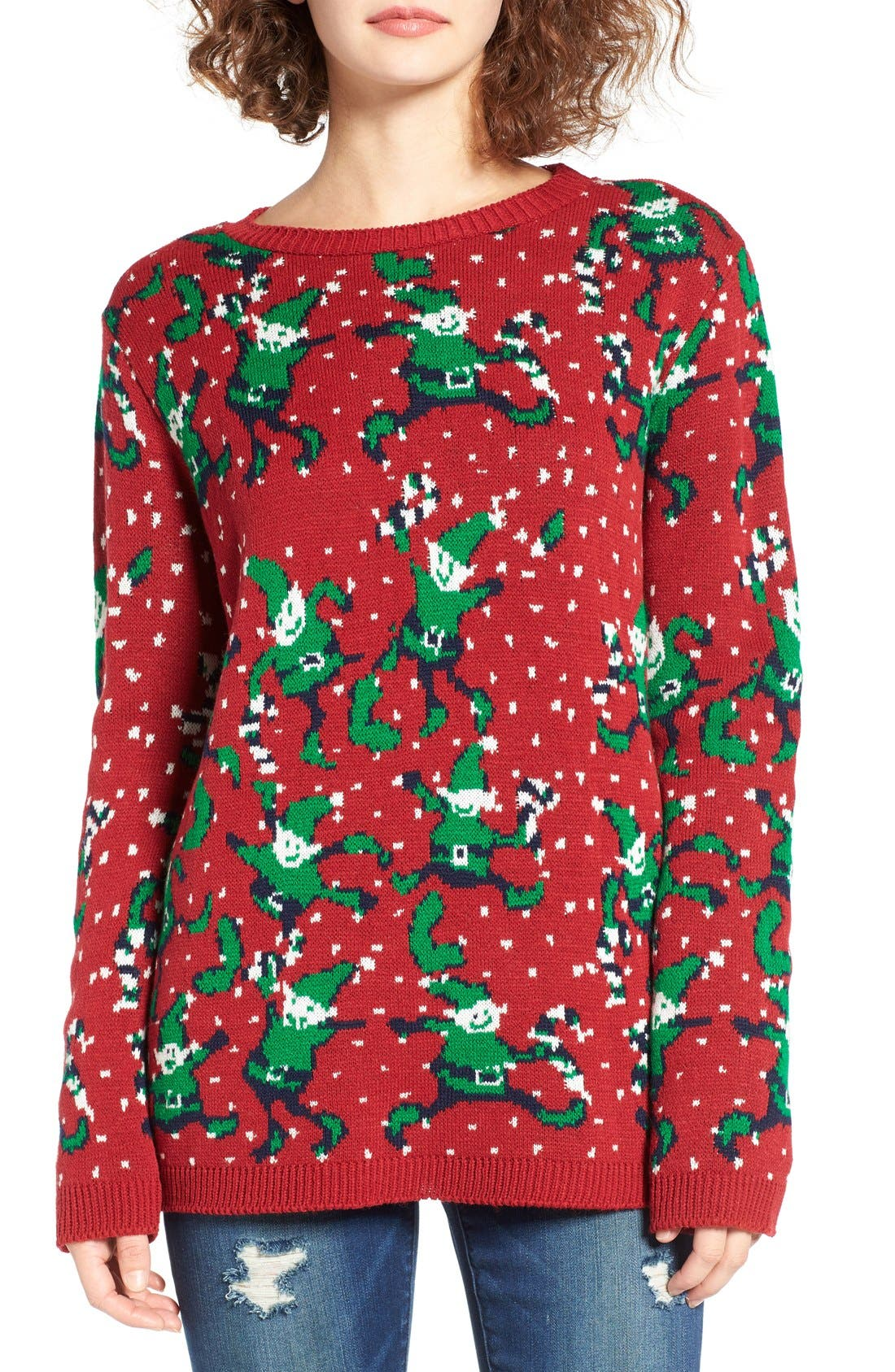 Alternate Image 1 Selected - Cotton Emporium Intarsia Elf Sweater