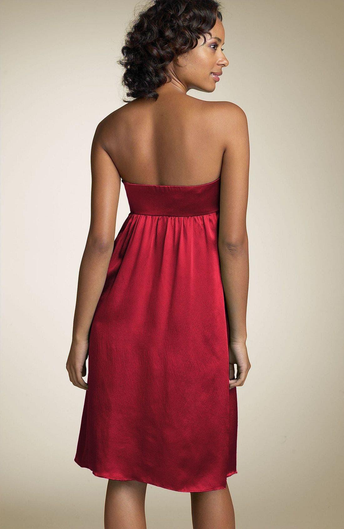 Alternate Image 2  - Nicole Miller Strapless Silk Dress