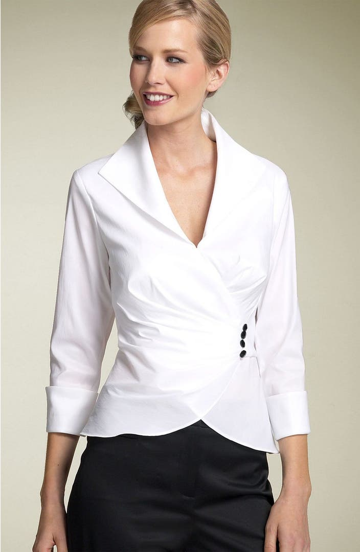 Tadashi shoji faux wrap taffeta blouse nordstrom for How to get makeup out of white shirt