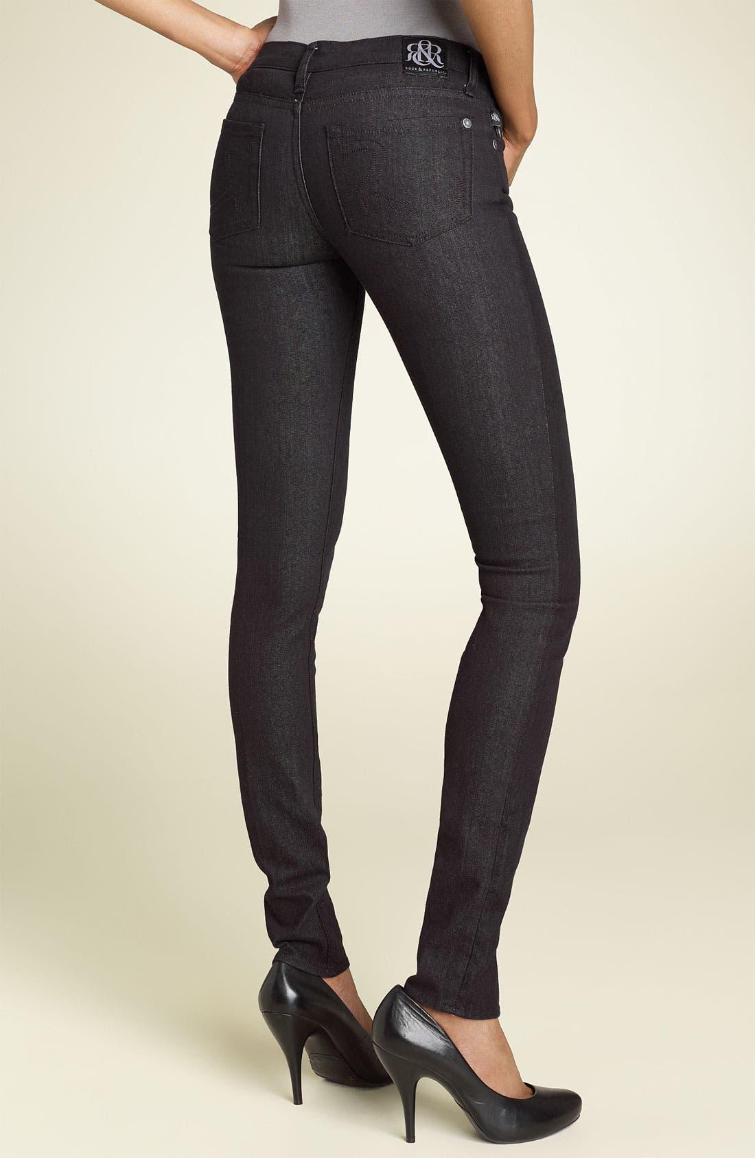 Alternate Image 1 Selected - Rock & Republic 'Berlin' Skinny Stretch Jeans (Black Wash)