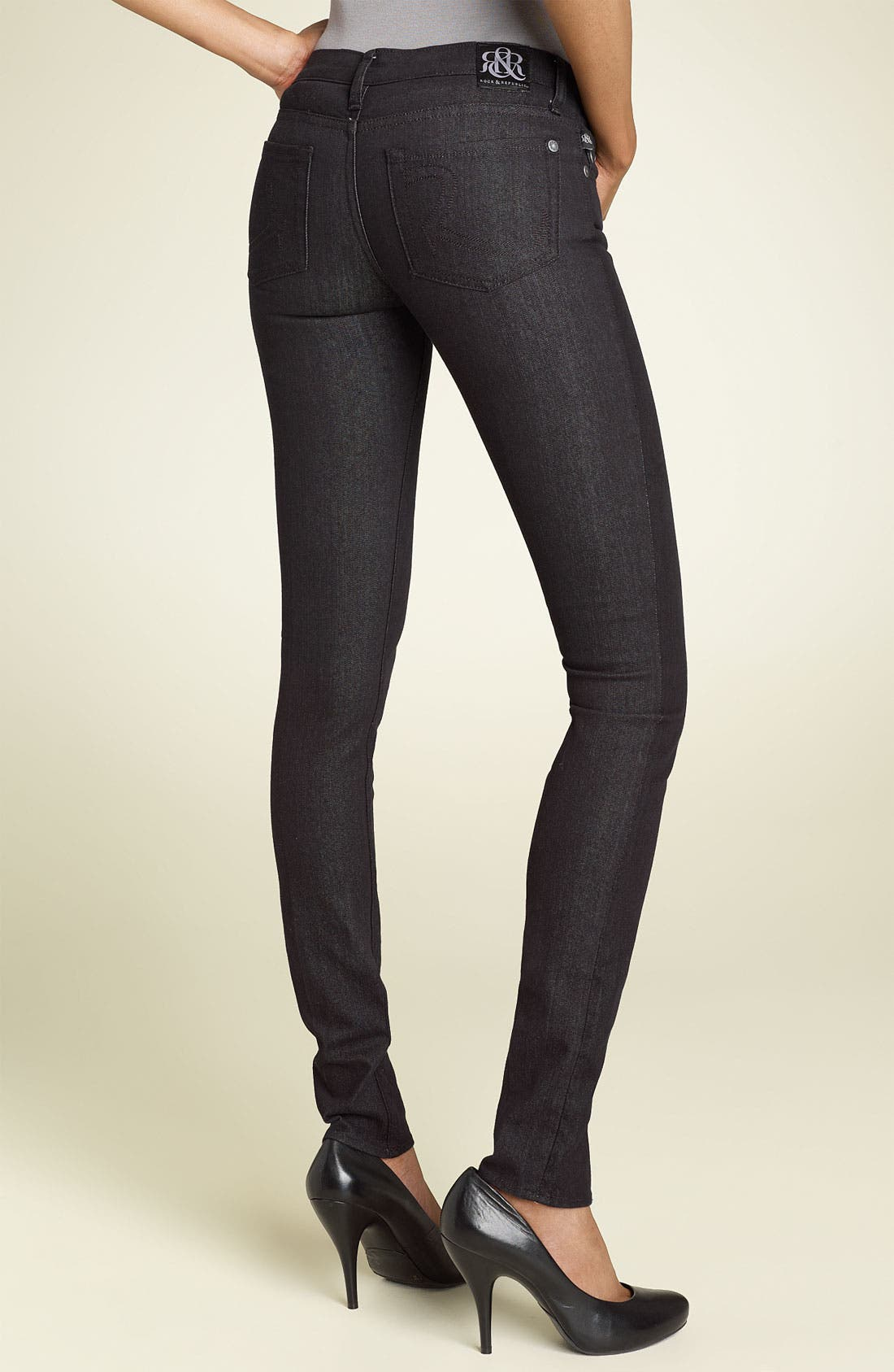 Main Image - Rock & Republic 'Berlin' Skinny Stretch Jeans (Black Wash)