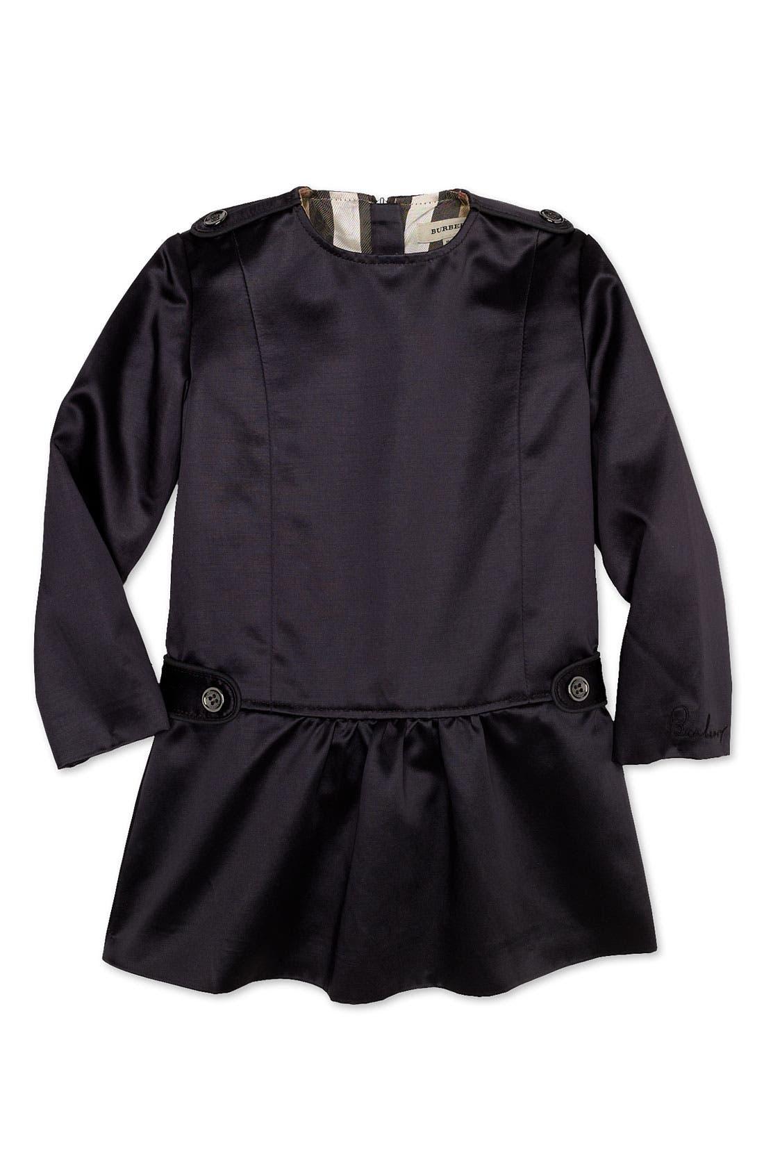 Alternate Image 1 Selected - Burberry Satin Dress (Infant)