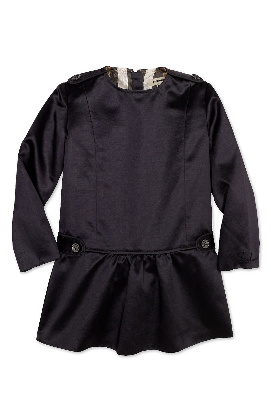 Main Image - Burberry Satin Dress (Infant)