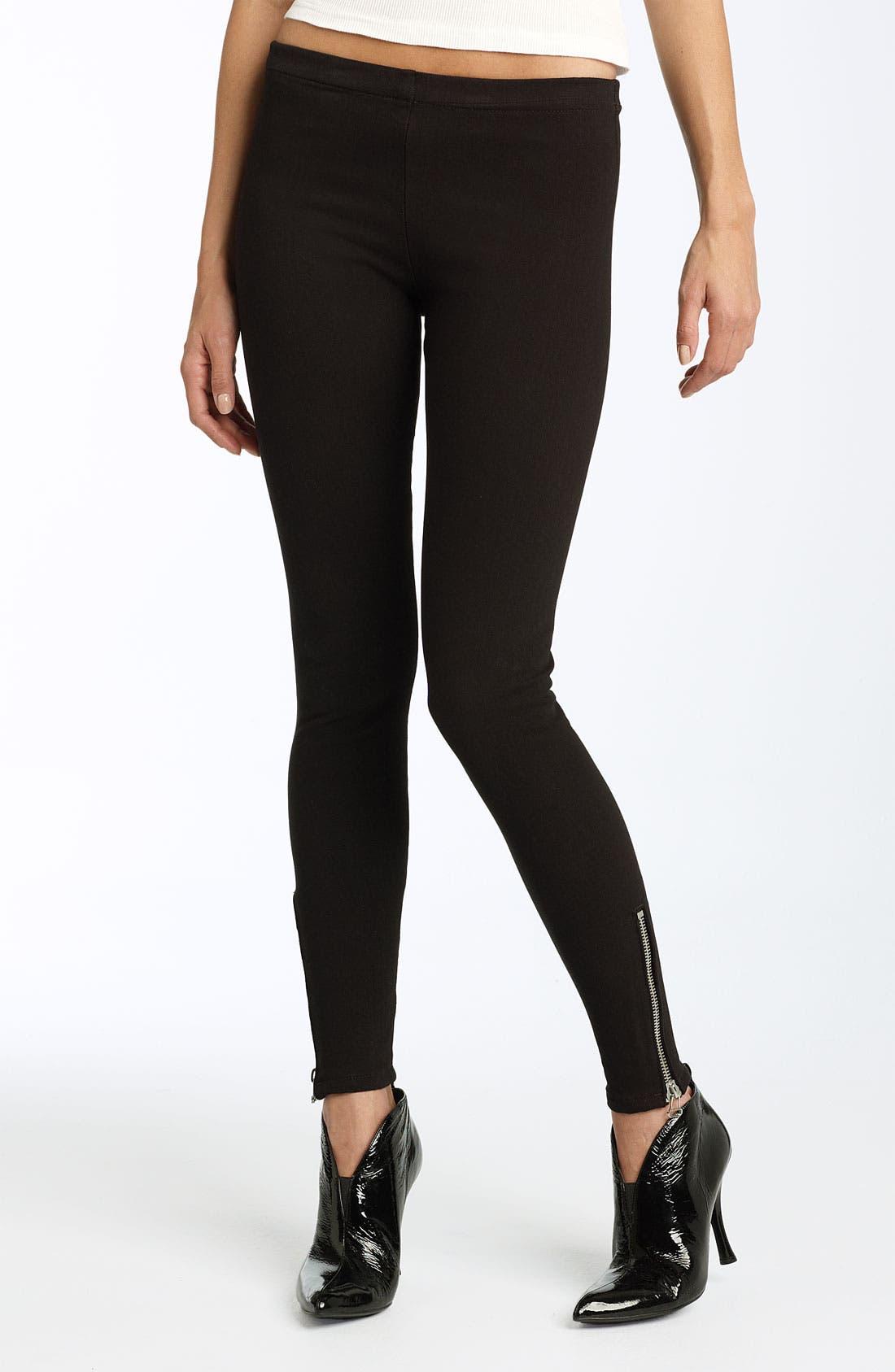 Alternate Image 1 Selected - Joe's Jeans Side Zip Hem Stretch Denim Leggings (Black Wash)