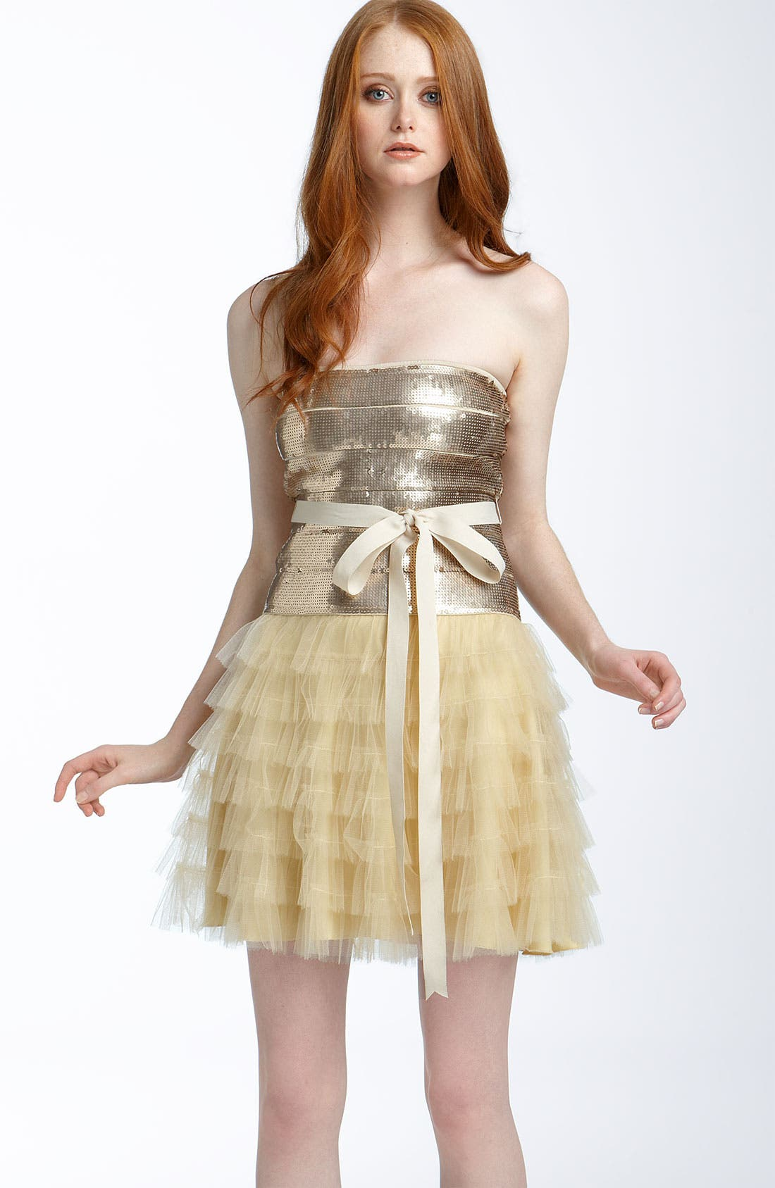 Alternate Image 1 Selected - Haute Hippie Sequined Tulle Cocktail Dress