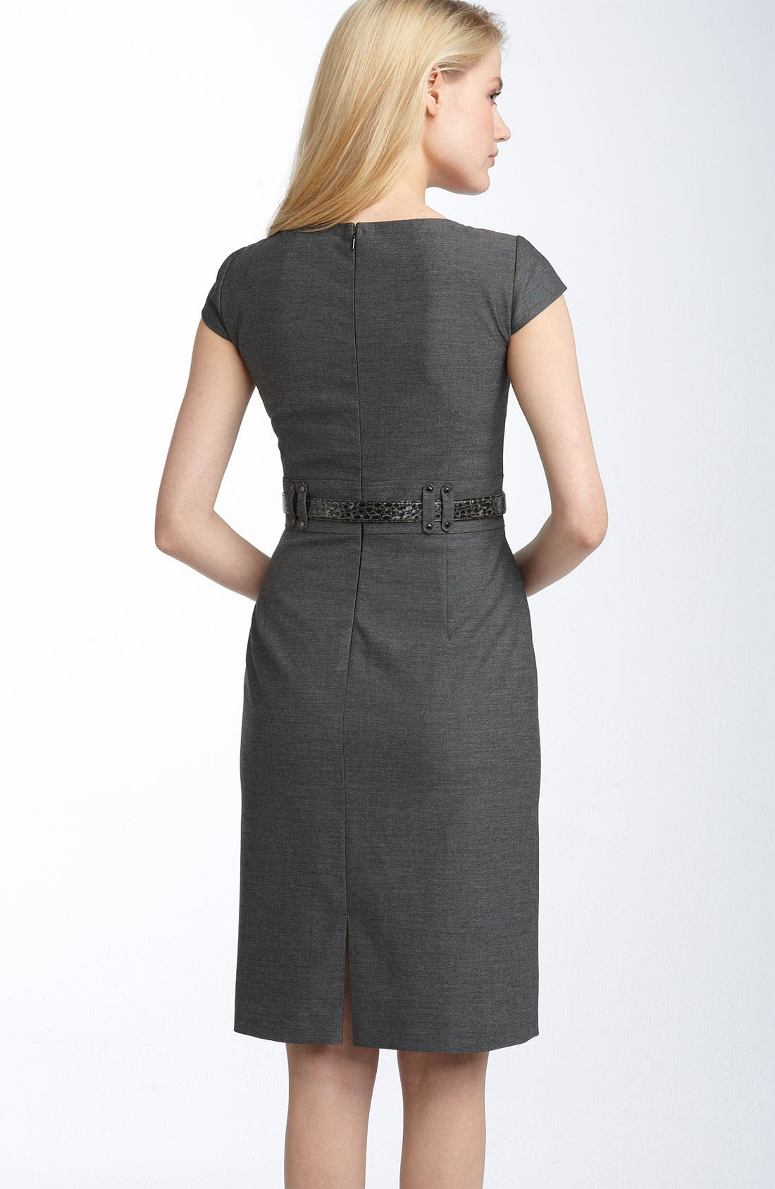 Alternate Image 2  - Tahari by Arthur S. Levine Belted Split Neck Sheath Dress