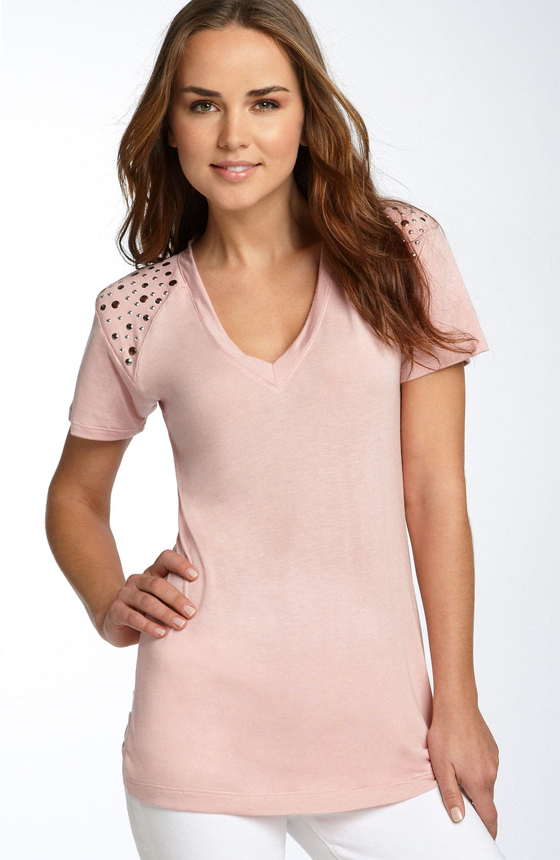 Alternate Image 1 Selected - Eight Sixty Studded Structured Shoulder Top