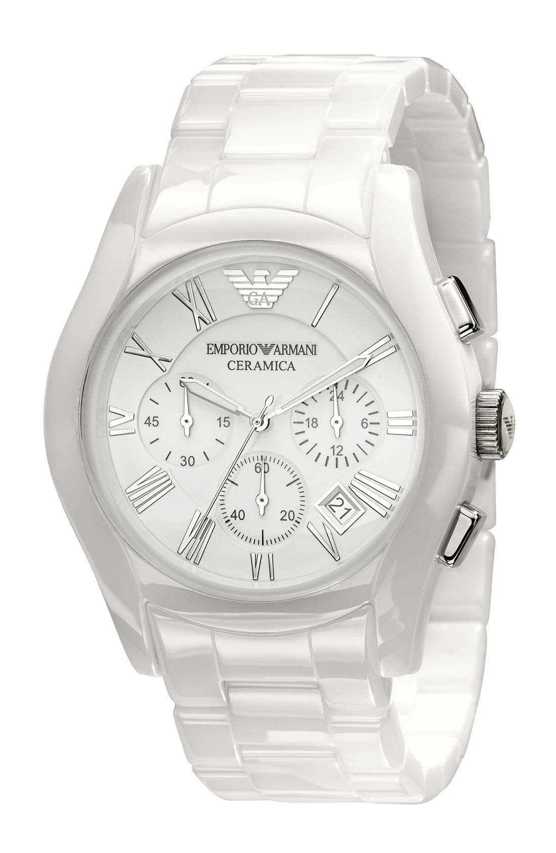 Alternate Image 1 Selected - Emporio Armani Large Ceramic Chronograph Watch, 42mm