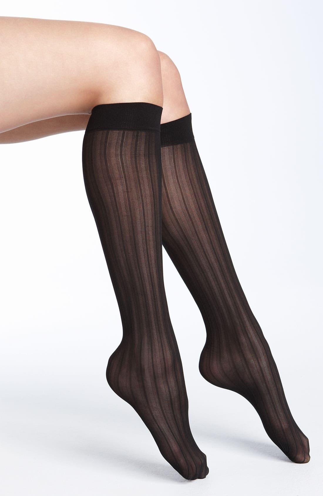 Alternate Image 1 Selected - Nordstrom Mesh Stripe Trouser Socks