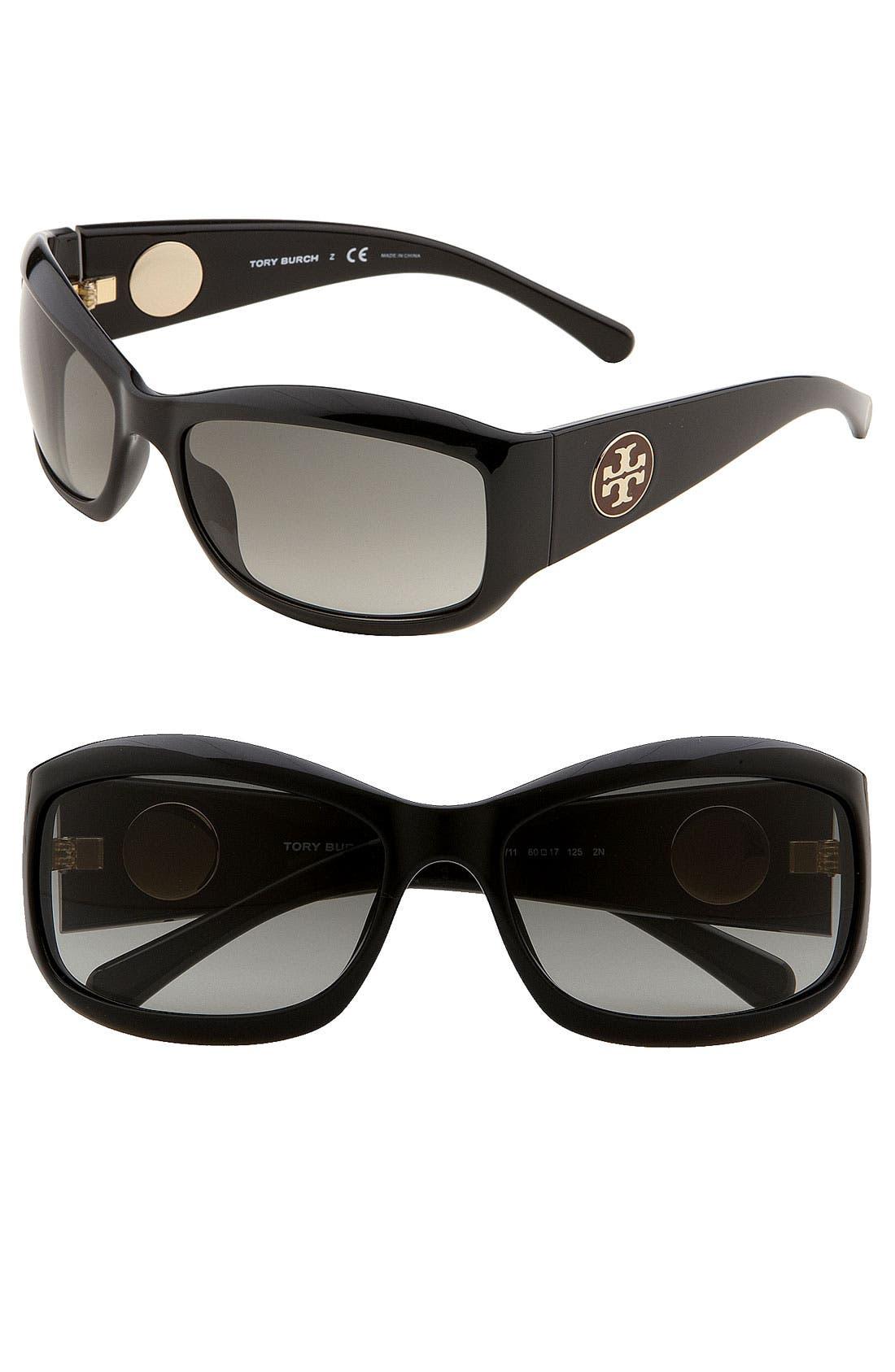 Main Image - Tory Burch 'Pop Out Logo' Wrap Sunglasses