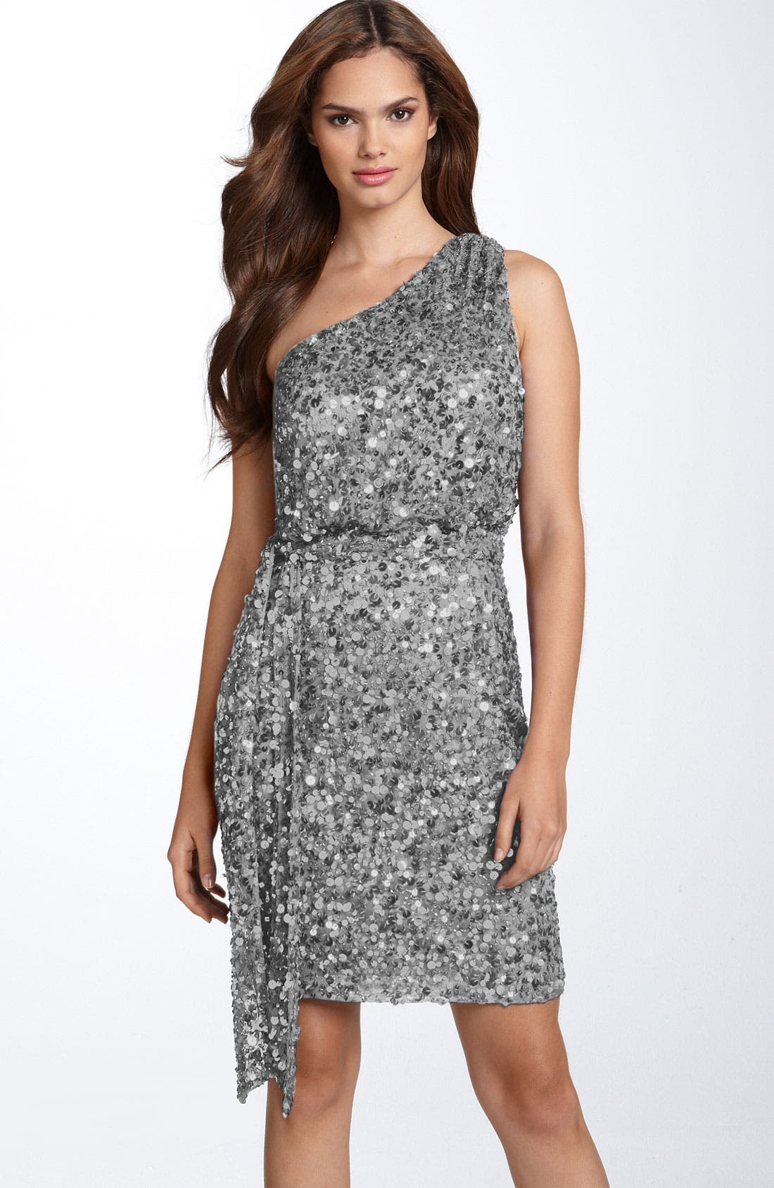 Main Image - Aidan Mattox Sequin One Shoulder Dress