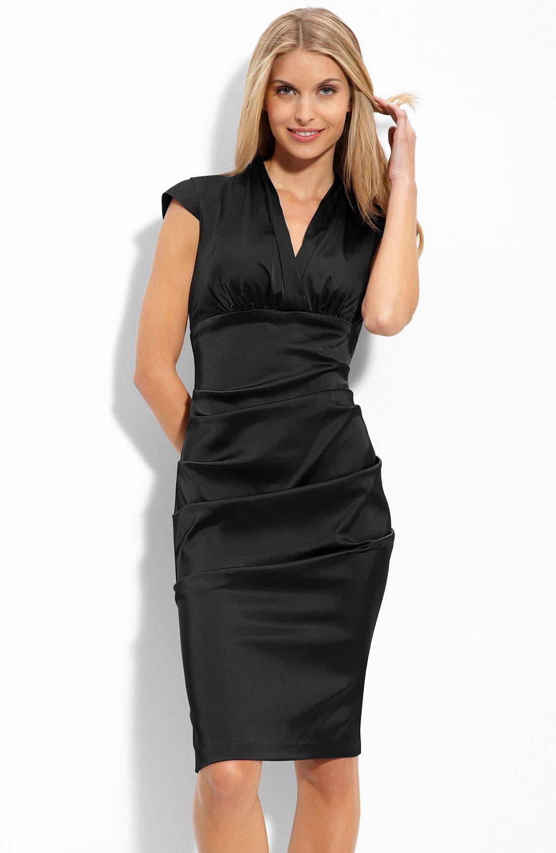 Main Image - Xscape Pleated Stretch Satin Sheath Dress