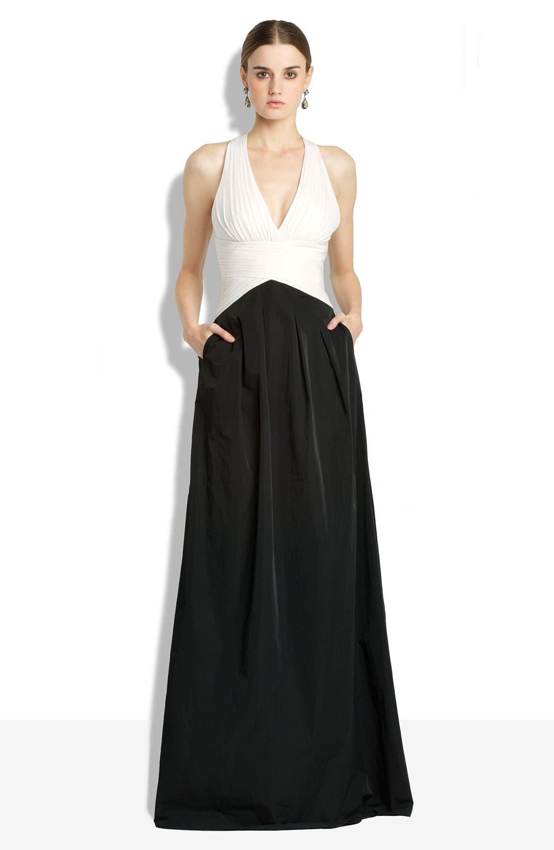 Main Image - BCBGMAXAZRIA Open Back Chiffon & Taffeta Gown