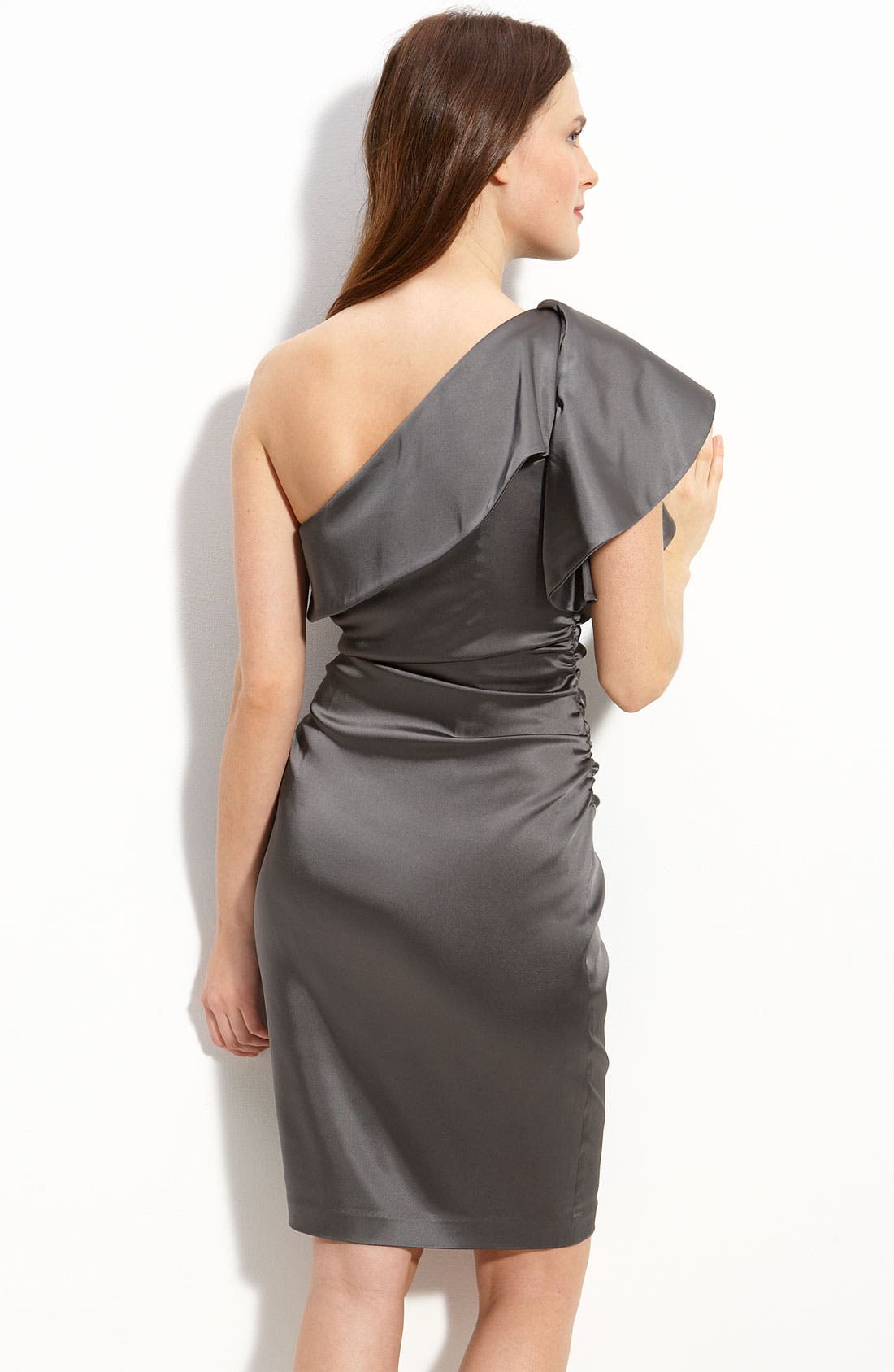 Alternate Image 2  - Maggy London Ruffled One Shoulder Stretch Satin Dress