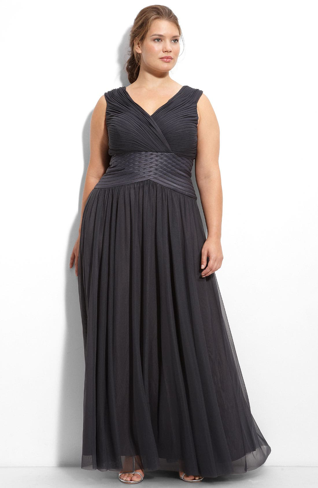 Alternate Image 3  - JS Collections Off the Shoulder Mesh Gown