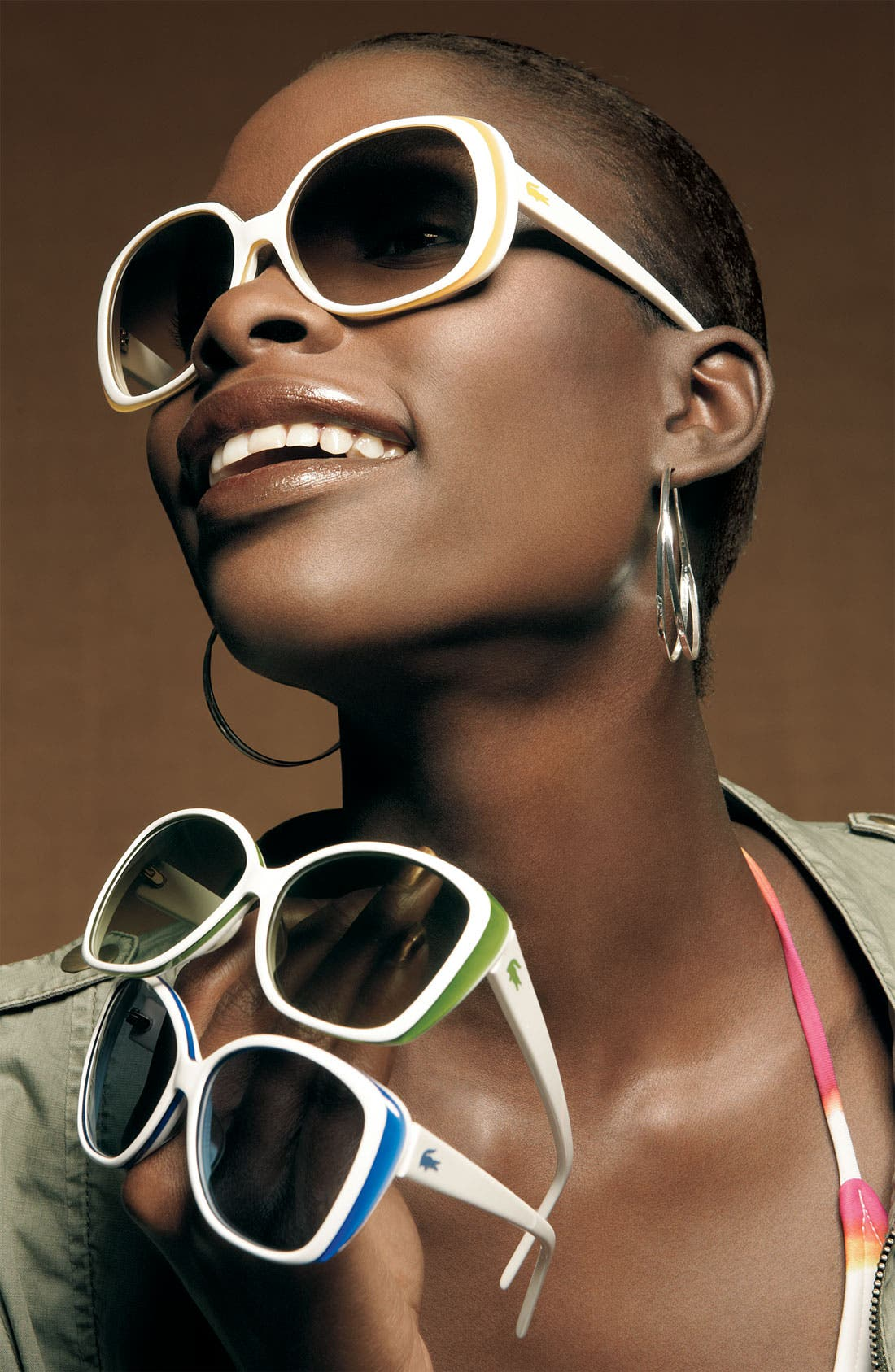 Alternate Image 2  - Lacoste Eyewear Retro Stripe Cat's Eye Sunglasses