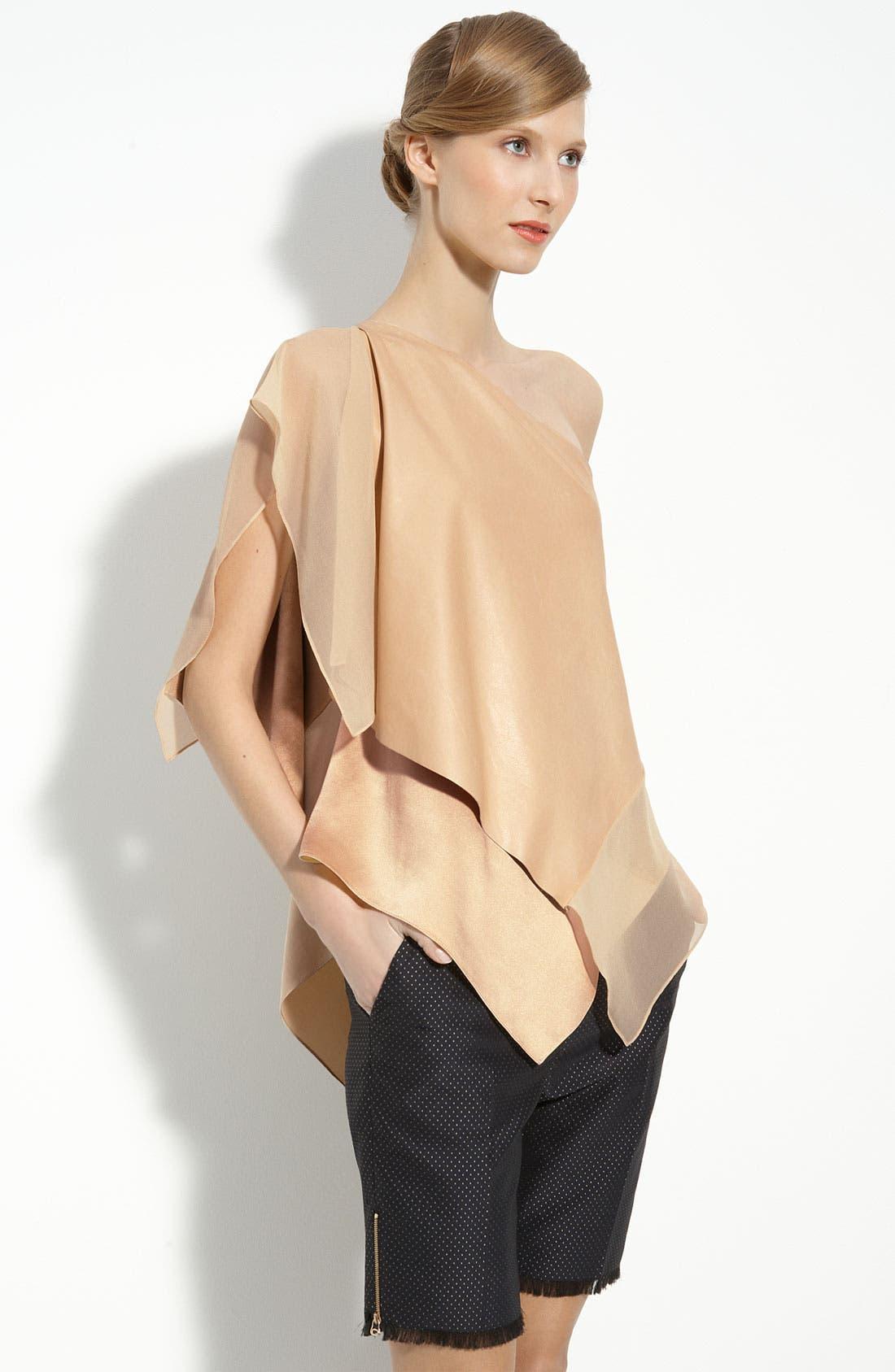 Alternate Image 1 Selected - 3.1 Phillip Lim Silk & Leather One Shoulder Top