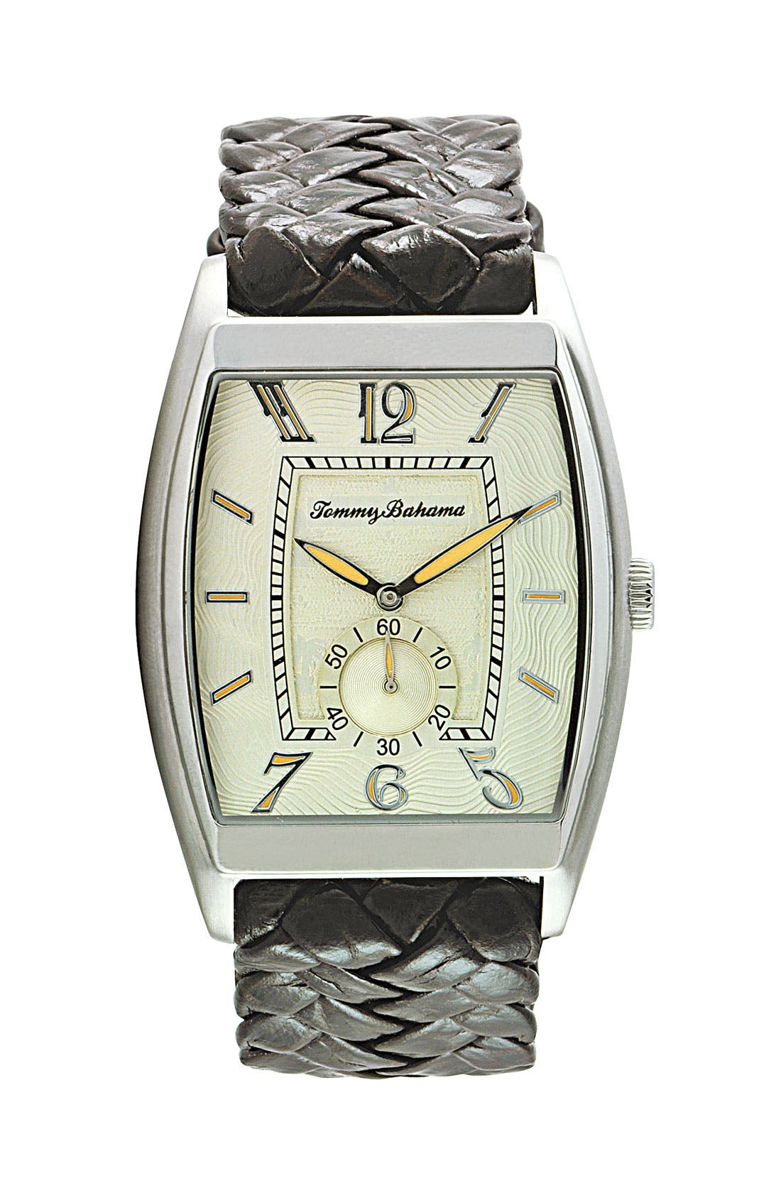 Alternate Image 1 Selected - Tommy Bahama 'Islander II' Braided Leather Strap Watch, 35mm x 50mm