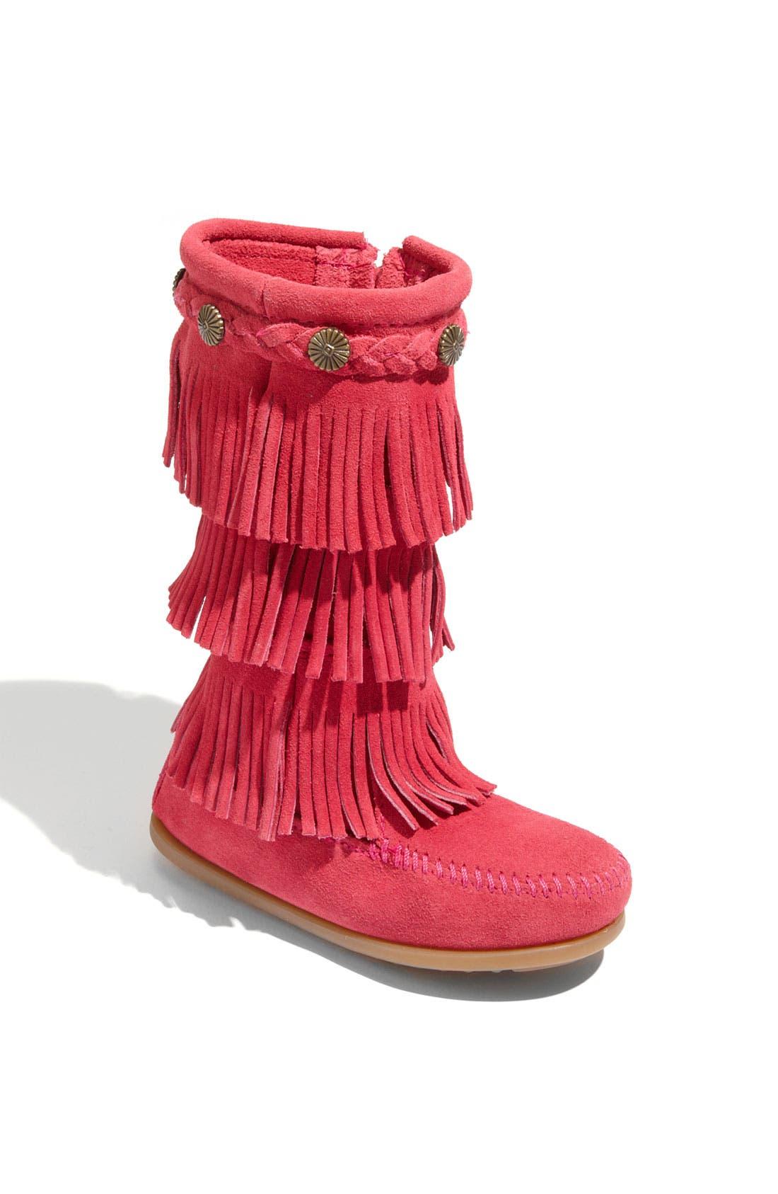 Minnetonka Three-Layer Fringe Boot (Walker, Toddler, Little Kid & Big Kid)