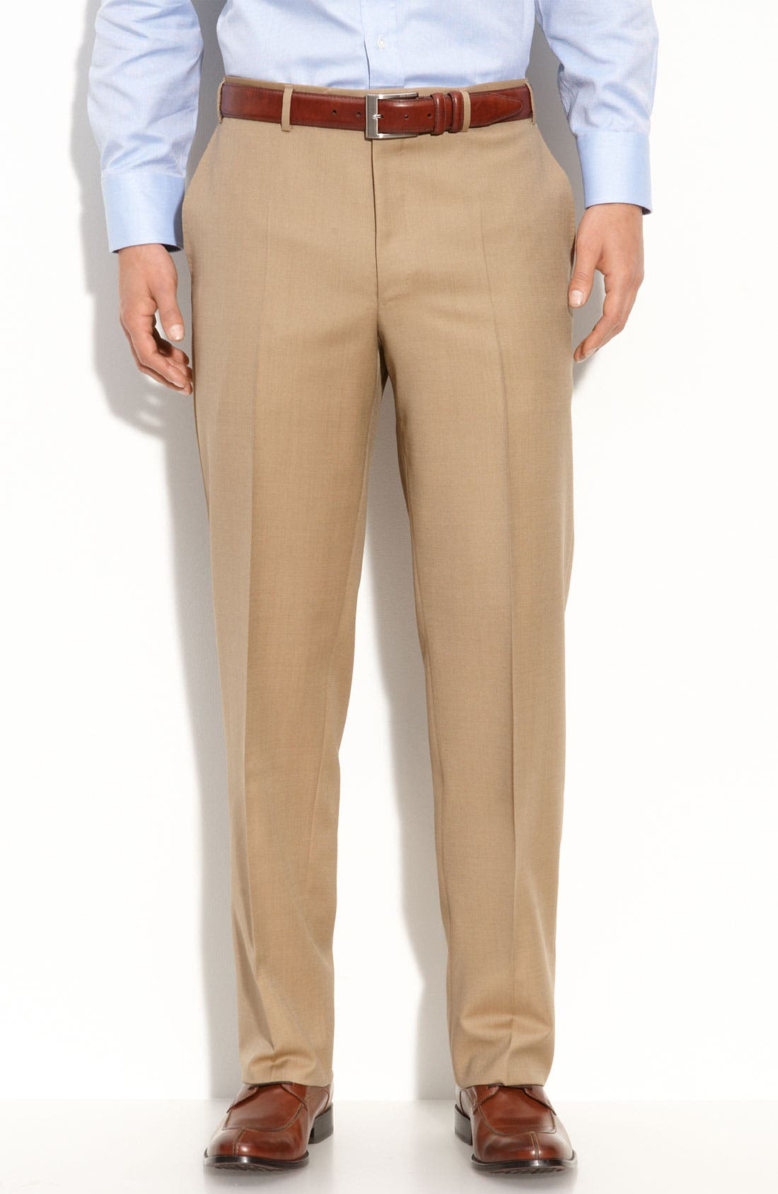 Canali Flat Front Wool Trousers