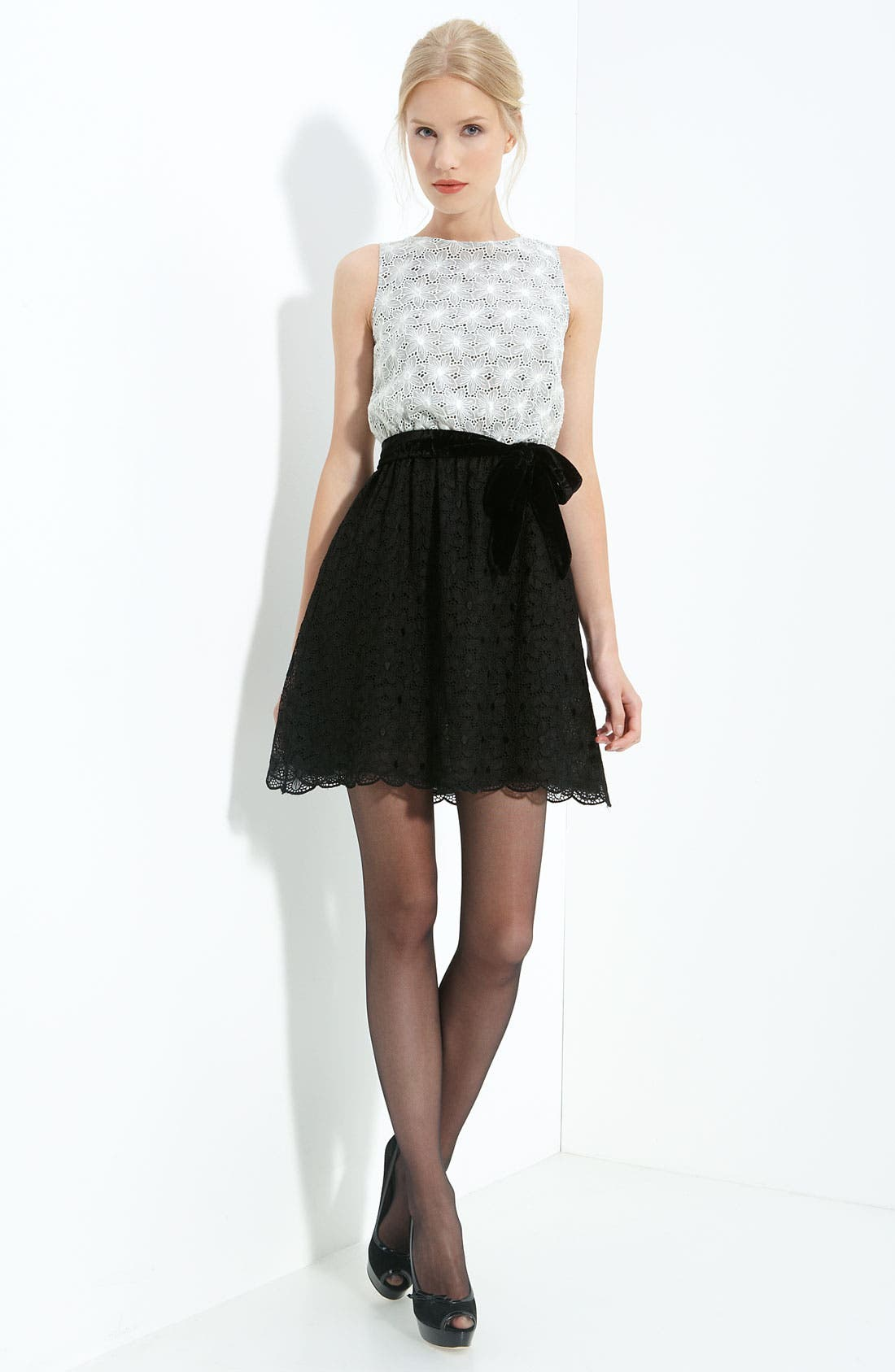Alternate Image 1 Selected - RED Valentino Embroidered Floral Eyelet Dress