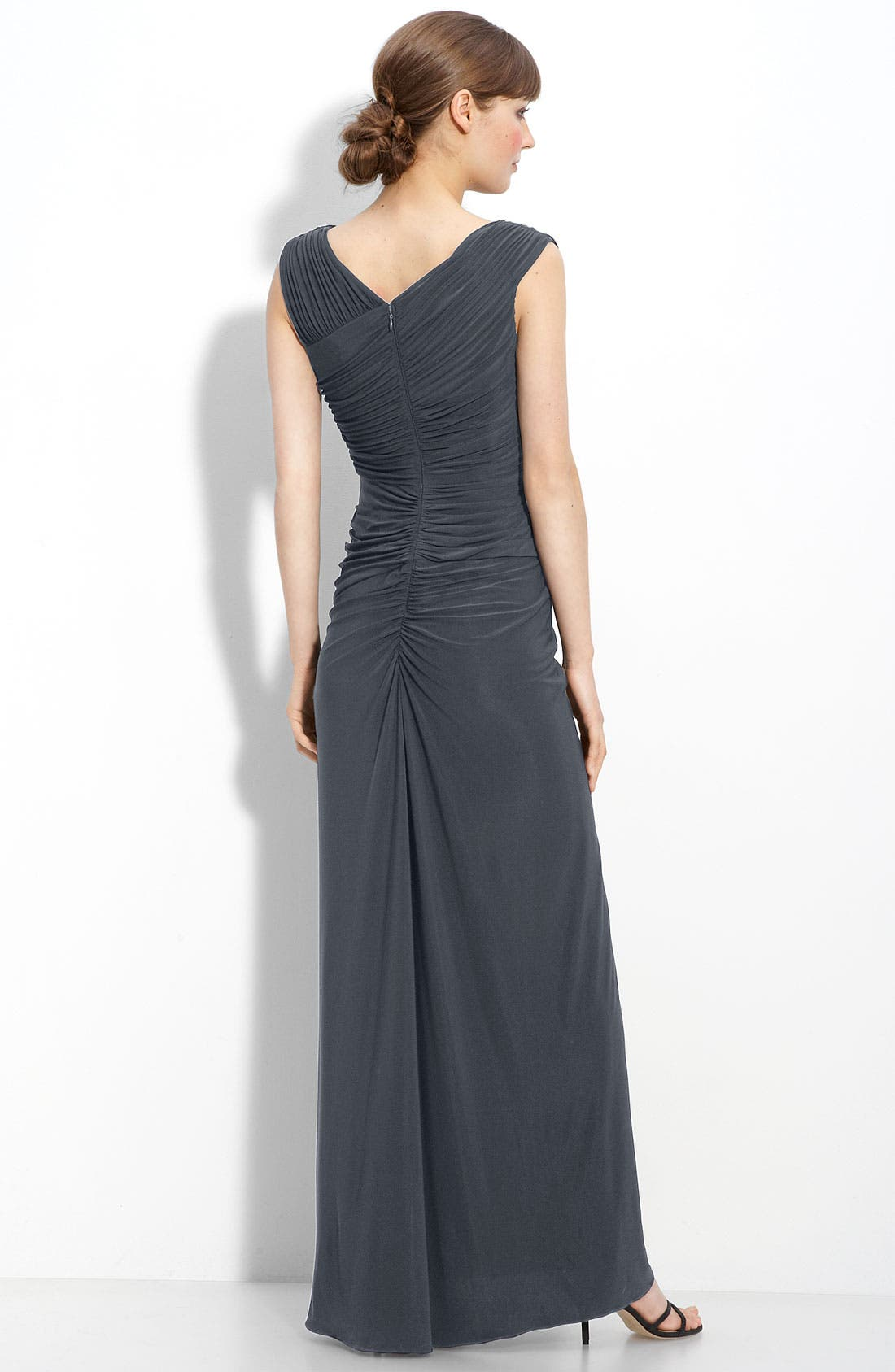 Alternate Image 2  - Adrianna Papell Crystal Brooch Ruched Jersey Gown