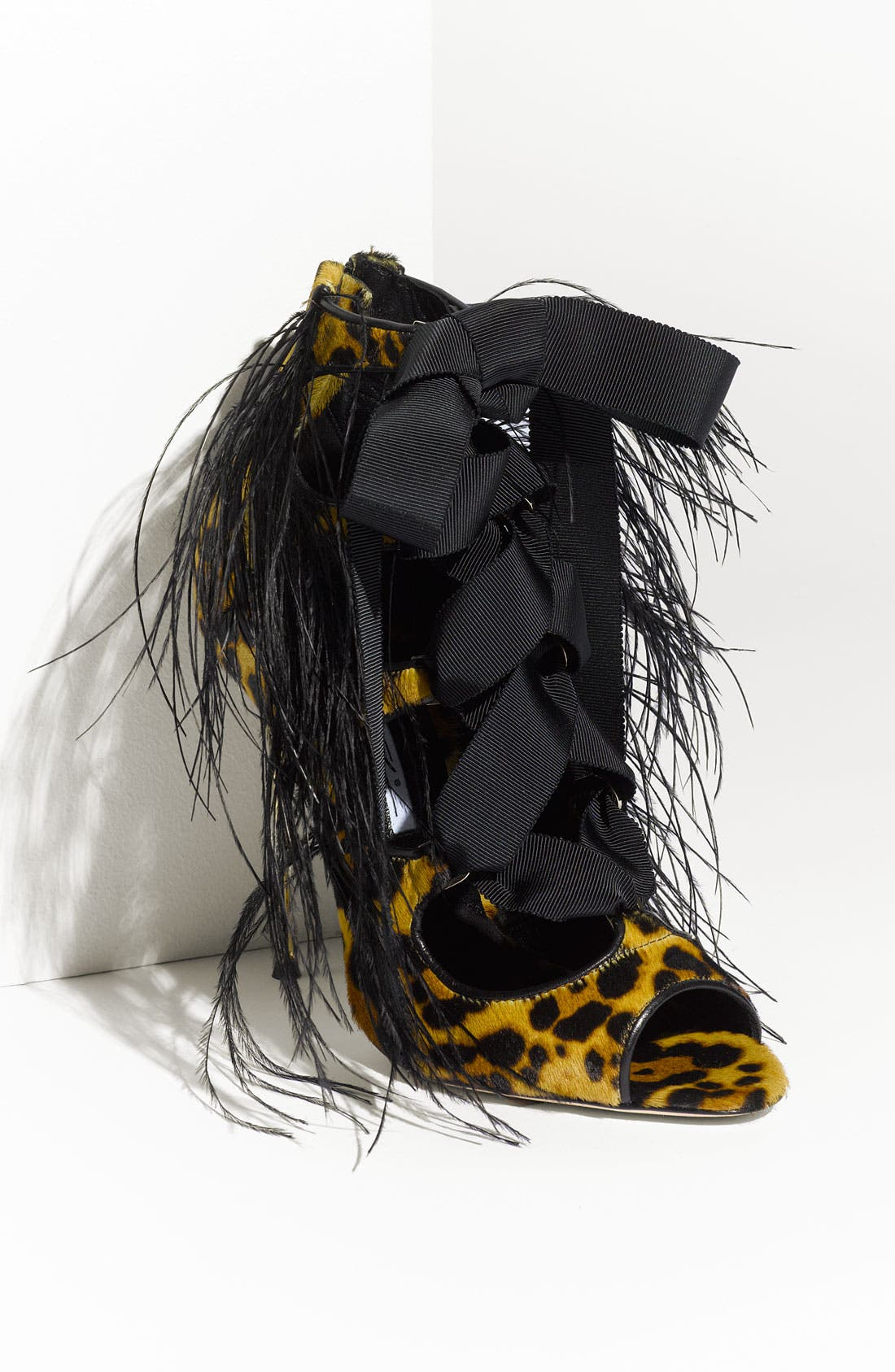 Alternate Image 1 Selected - Brian Atwood Metal Heel Leopard Print Pump with Genuine Ostrich Feathers