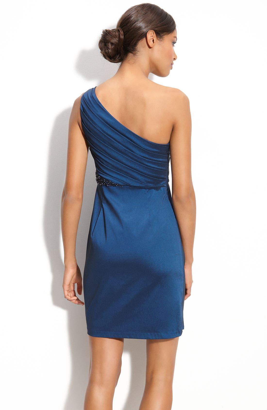 Alternate Image 2  - Adrianna Papell Beaded One-Shoulder Taffeta Dress (Regular & Petite)