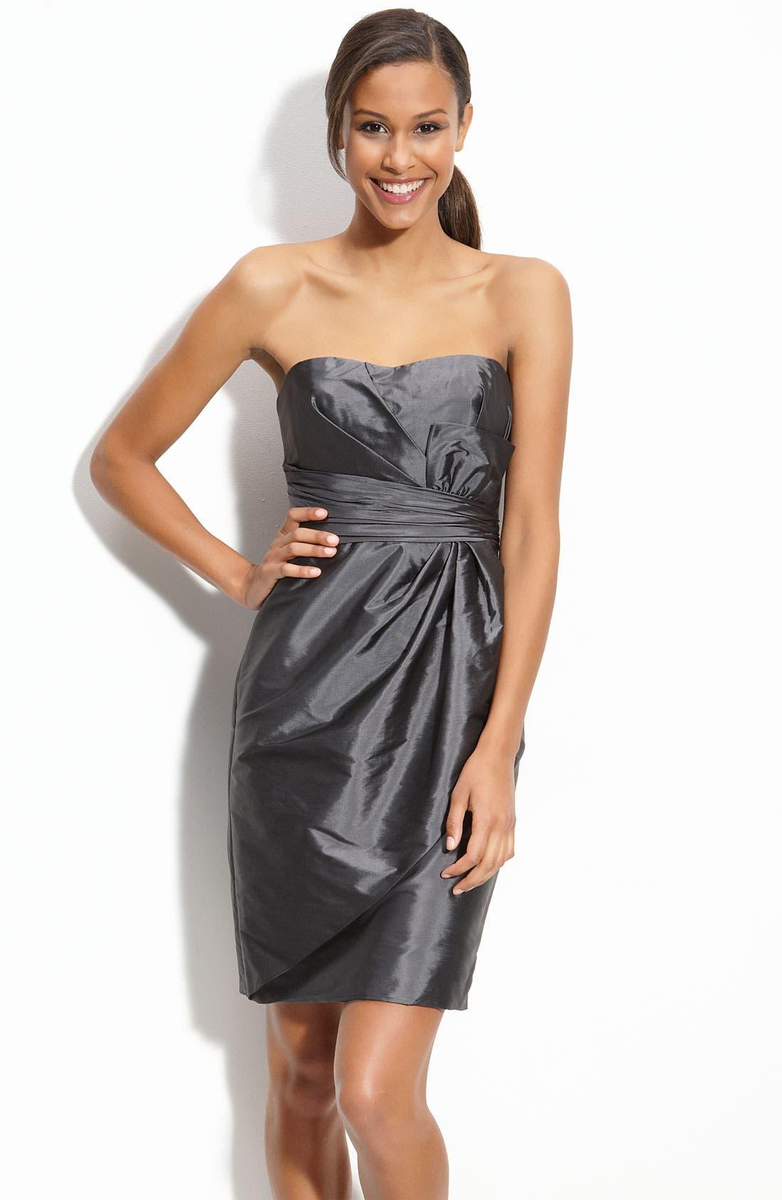 Main Image - ML Monique Lhuillier Bridesmaids Strapless Taffeta Sheath Dress (Nordstrom Exclusive)