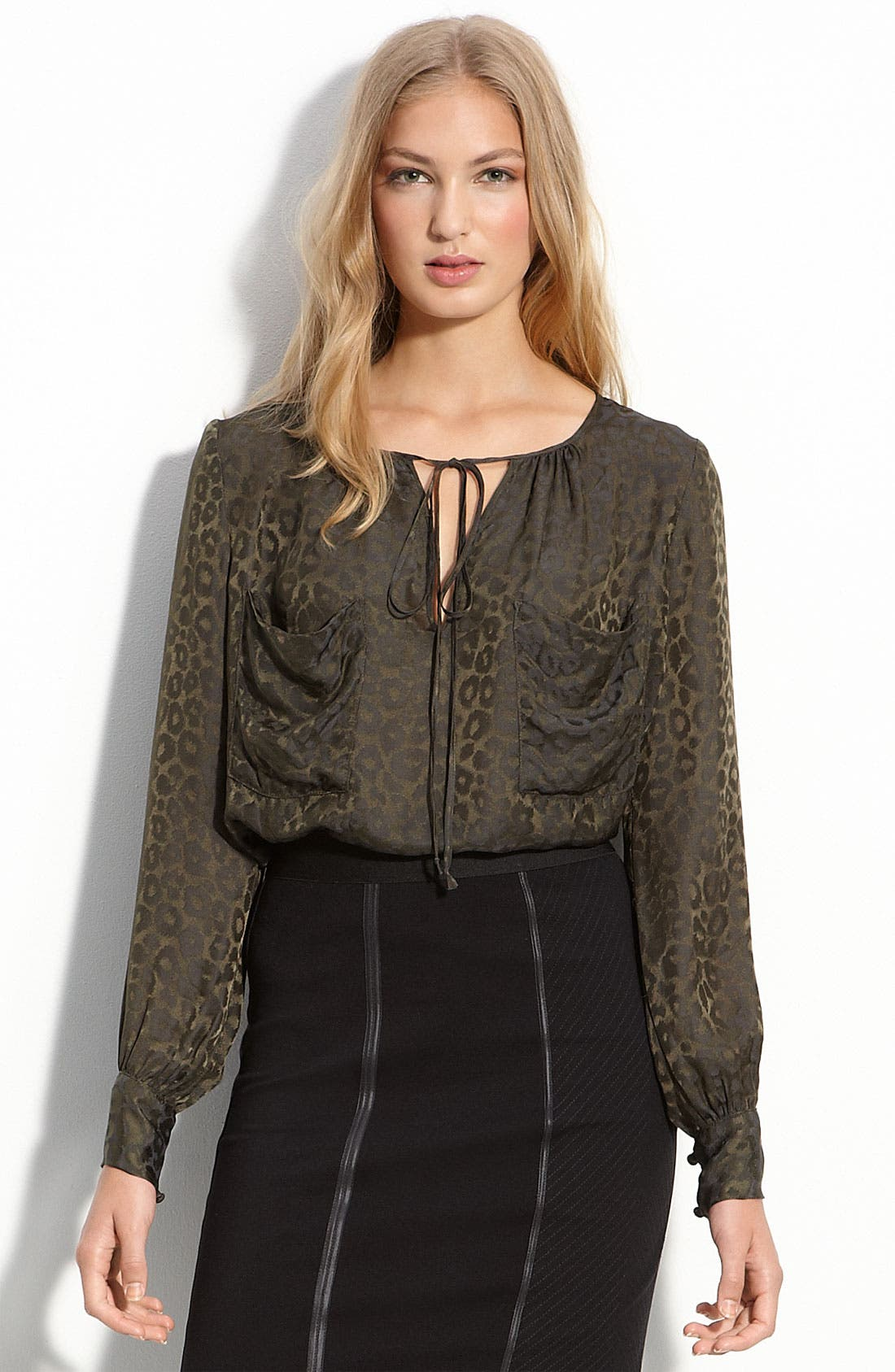Alternate Image 1 Selected - BCBGMAXAZRIA Printed Front Pocket Blouse