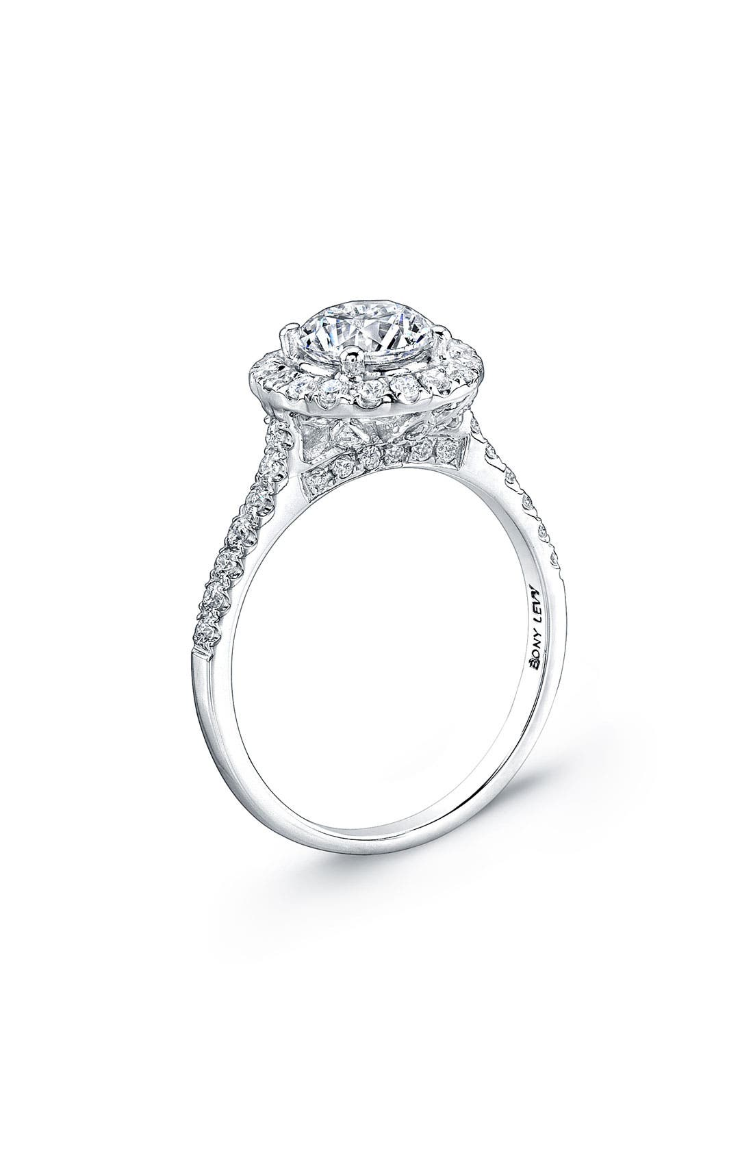 Alternate Image 2  - Bony Levy Pavé Diamond Leaf Engagement Ring Setting (Nordstrom Exclusive)